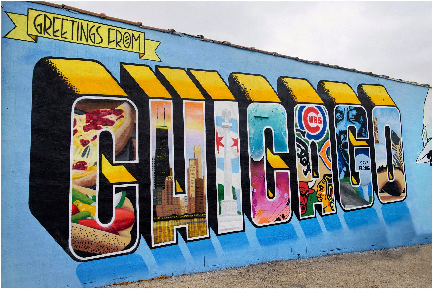 28 greetings from chicago il mural greetings from for Mural in chicago illinois