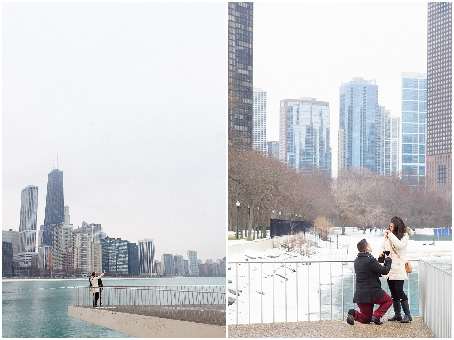 The boyfriend drops to one knee to pop the question during a Chicago skyline proposal.