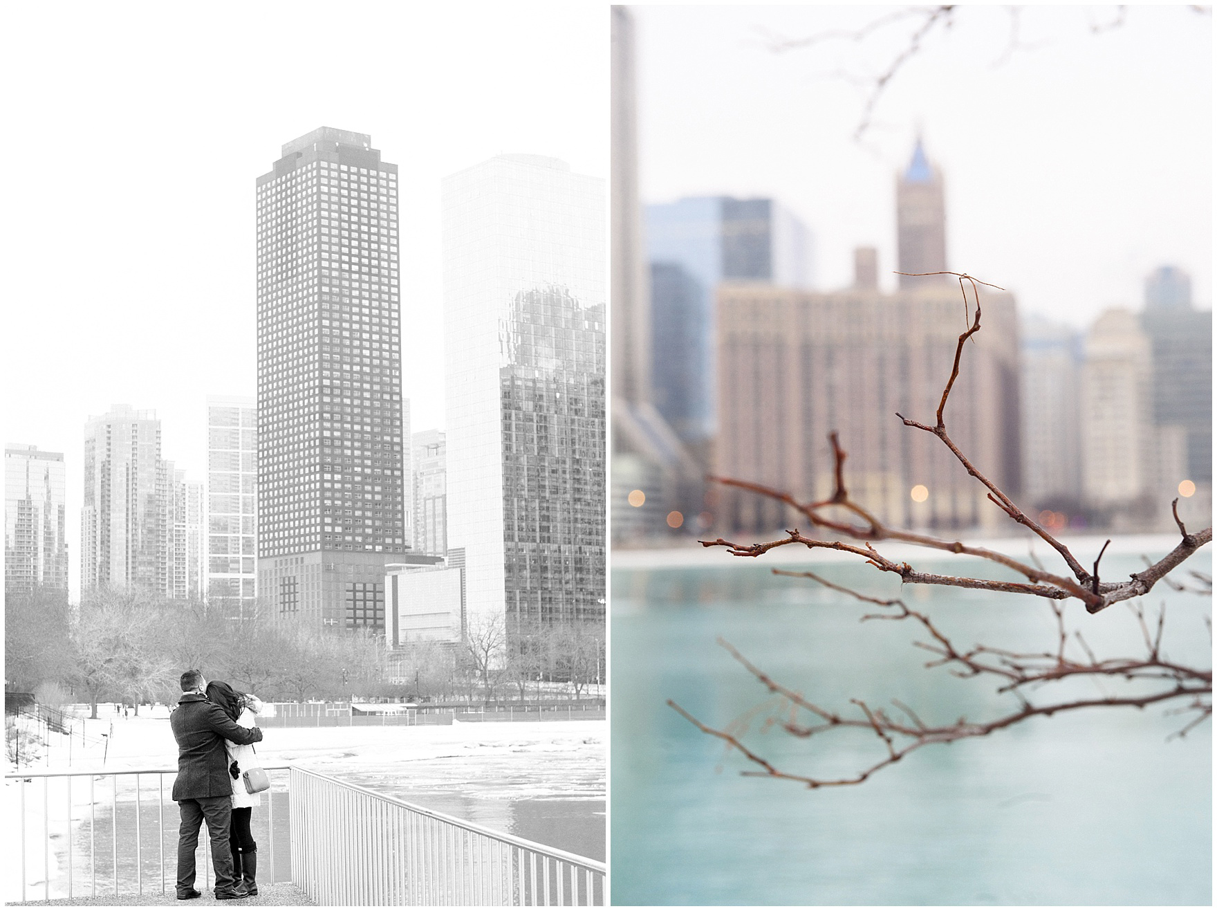 A couple embraces during a Chicago skyline proposal.