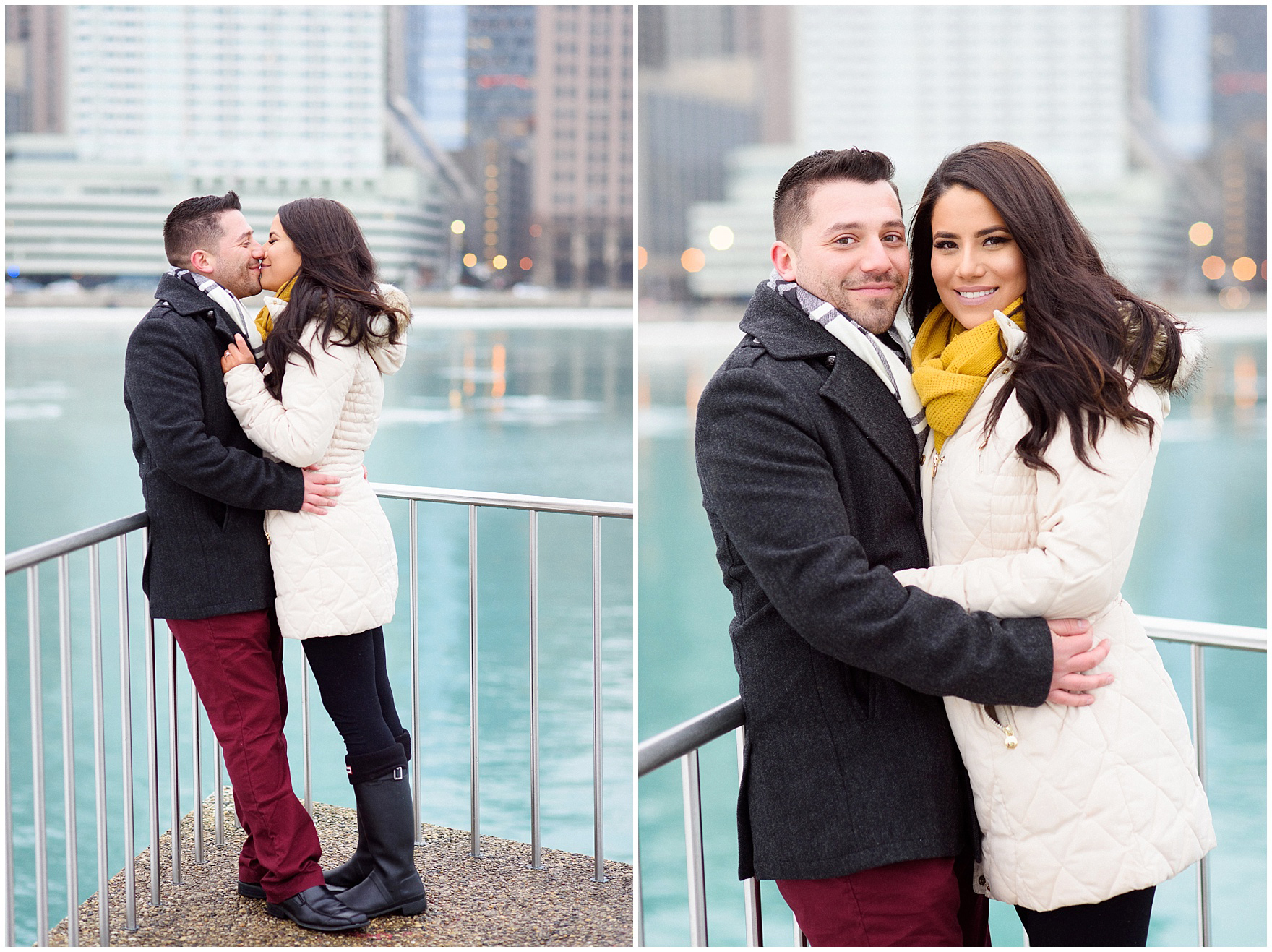 Portraits of the newly-engaged couple after a Chicago skyline proposal.