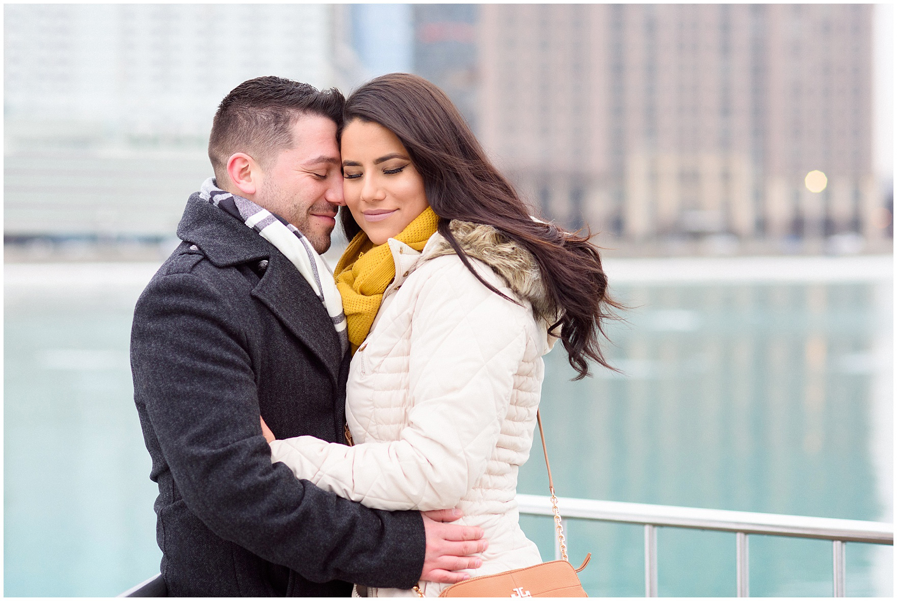 A quiet moment after popping the question during a Chicago skyline proposal.