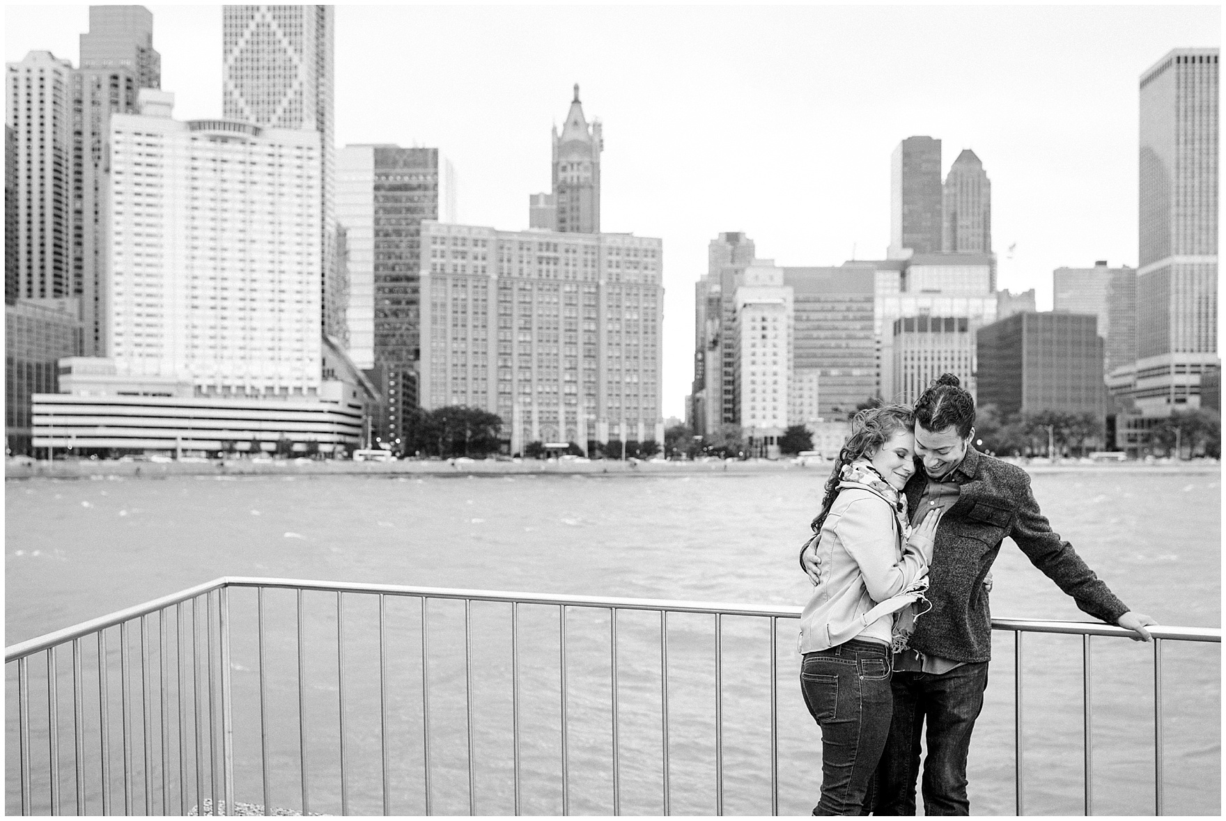 A bride and groom embrace during their Chicago Windy City coffee shop engagement session.