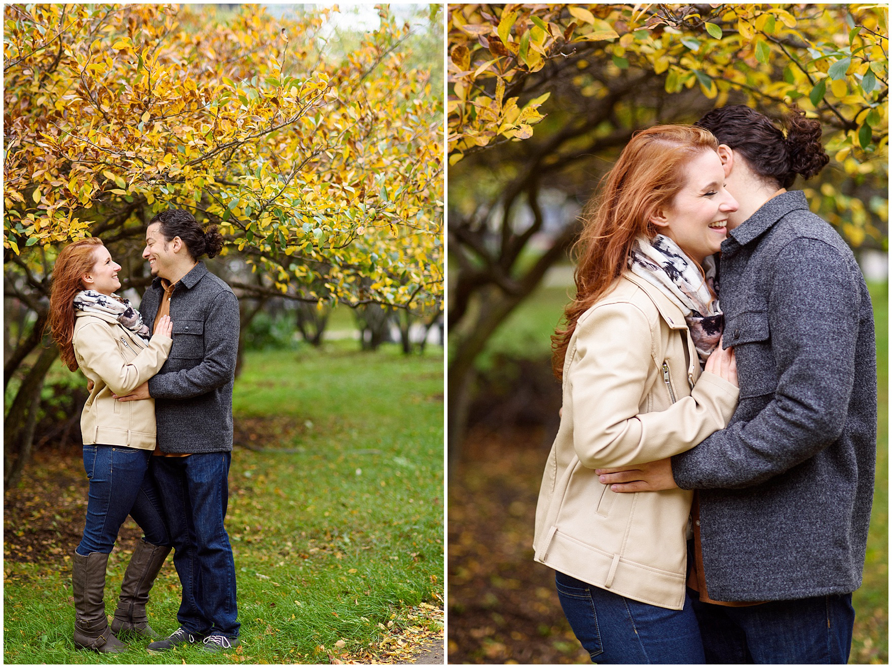 A couple laughs and embraces against colorful fall trees during their Chicago Windy City coffee shop engagement session.