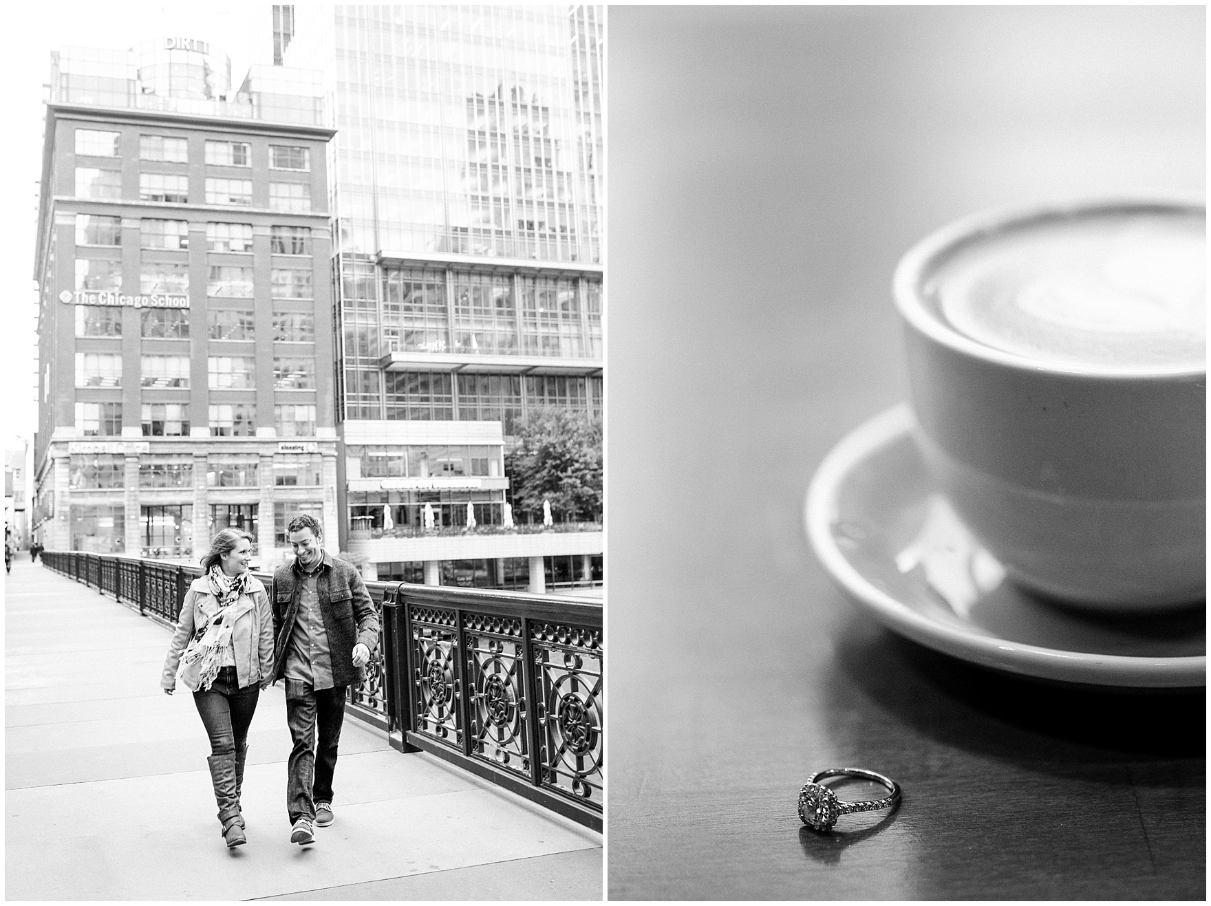 A couple walks across a Chicago bridge during their Chicago Windy City coffee shop engagement session.