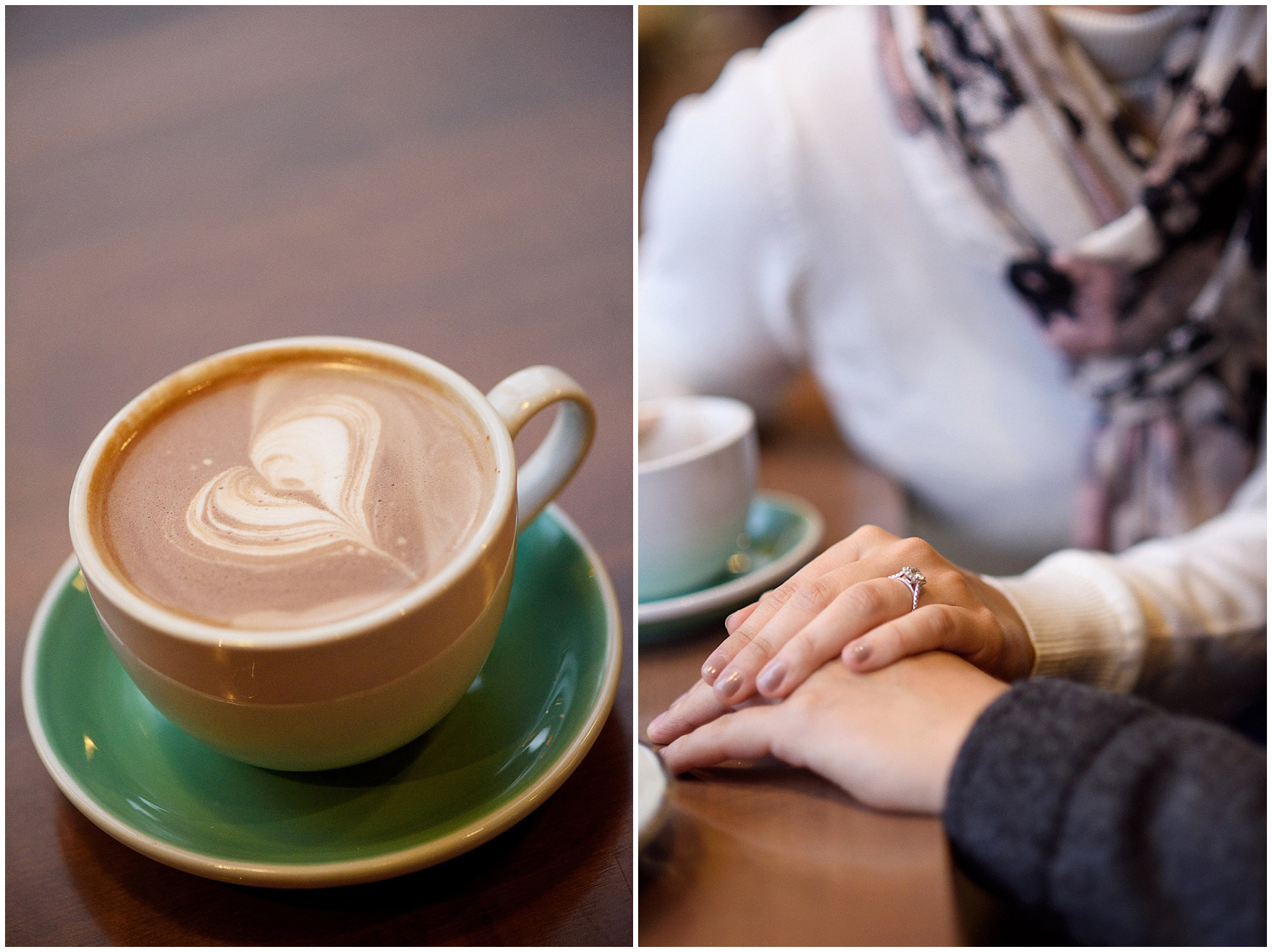 A couple enjoys a cup of coffee during their Chicago Windy City coffee shop engagement session.