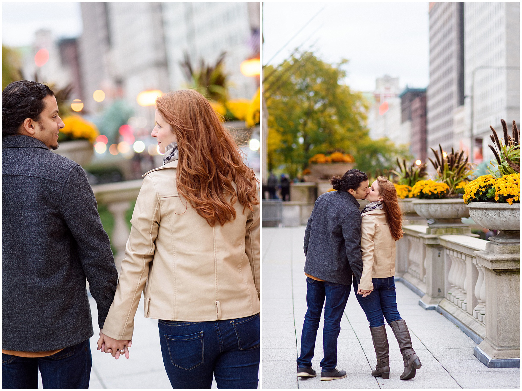 A couple walks along a Chicago street at twilight during their Chicago Windy City coffee shop engagement session.