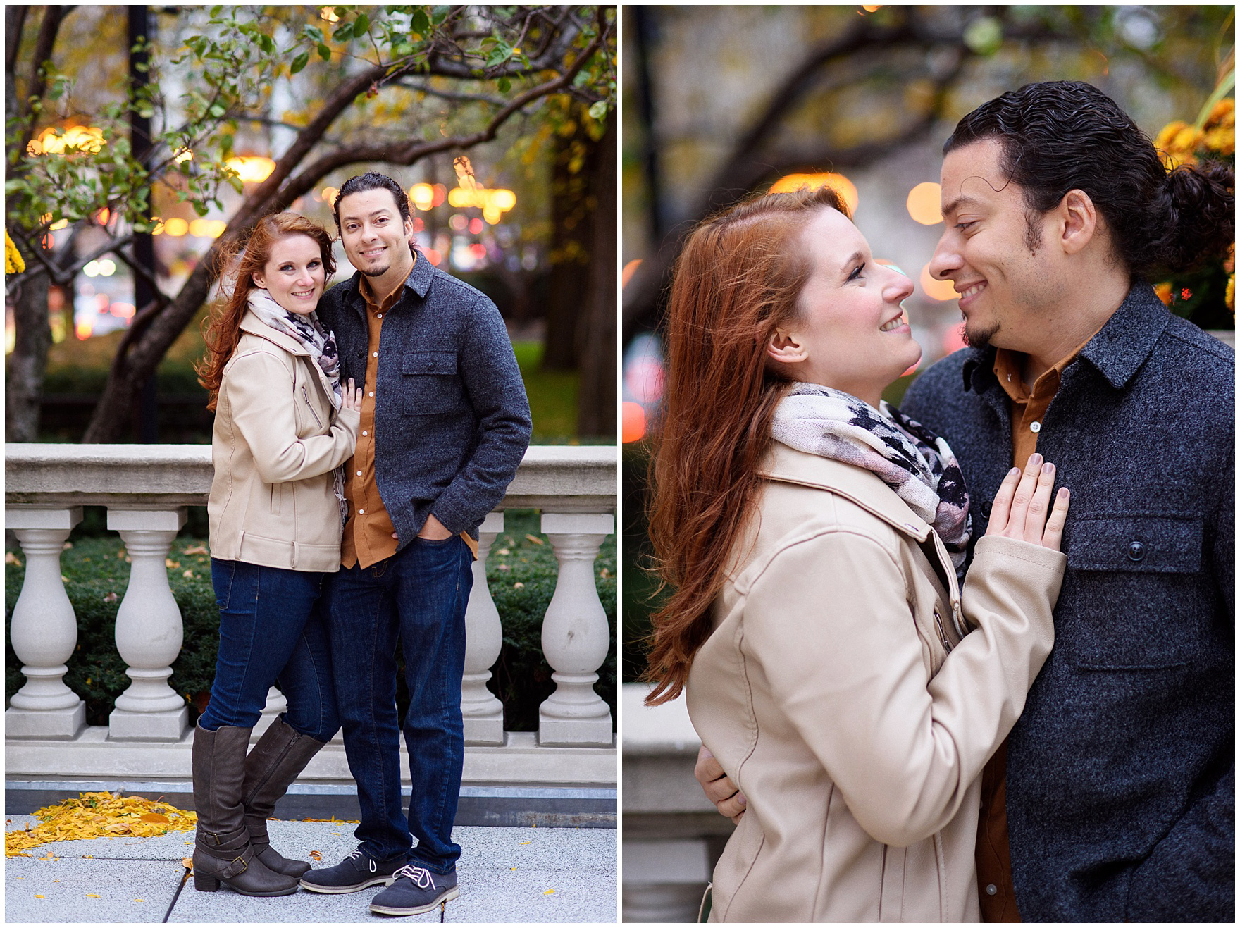 An engaged couple embraces during their Chicago Windy City coffee shop engagement session.