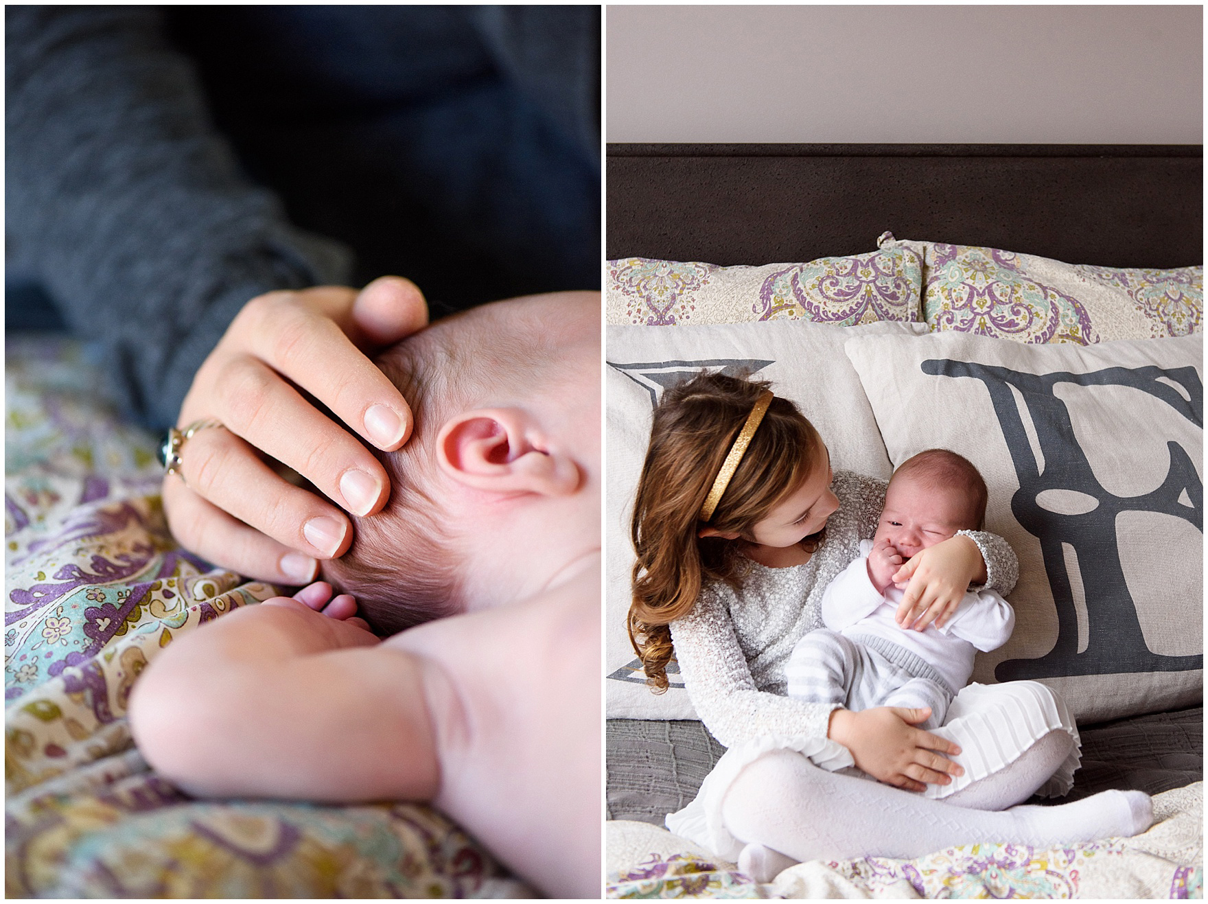 Mom cradles baby's head during a Lincoln Park lifestyle newborn session in Chicago.