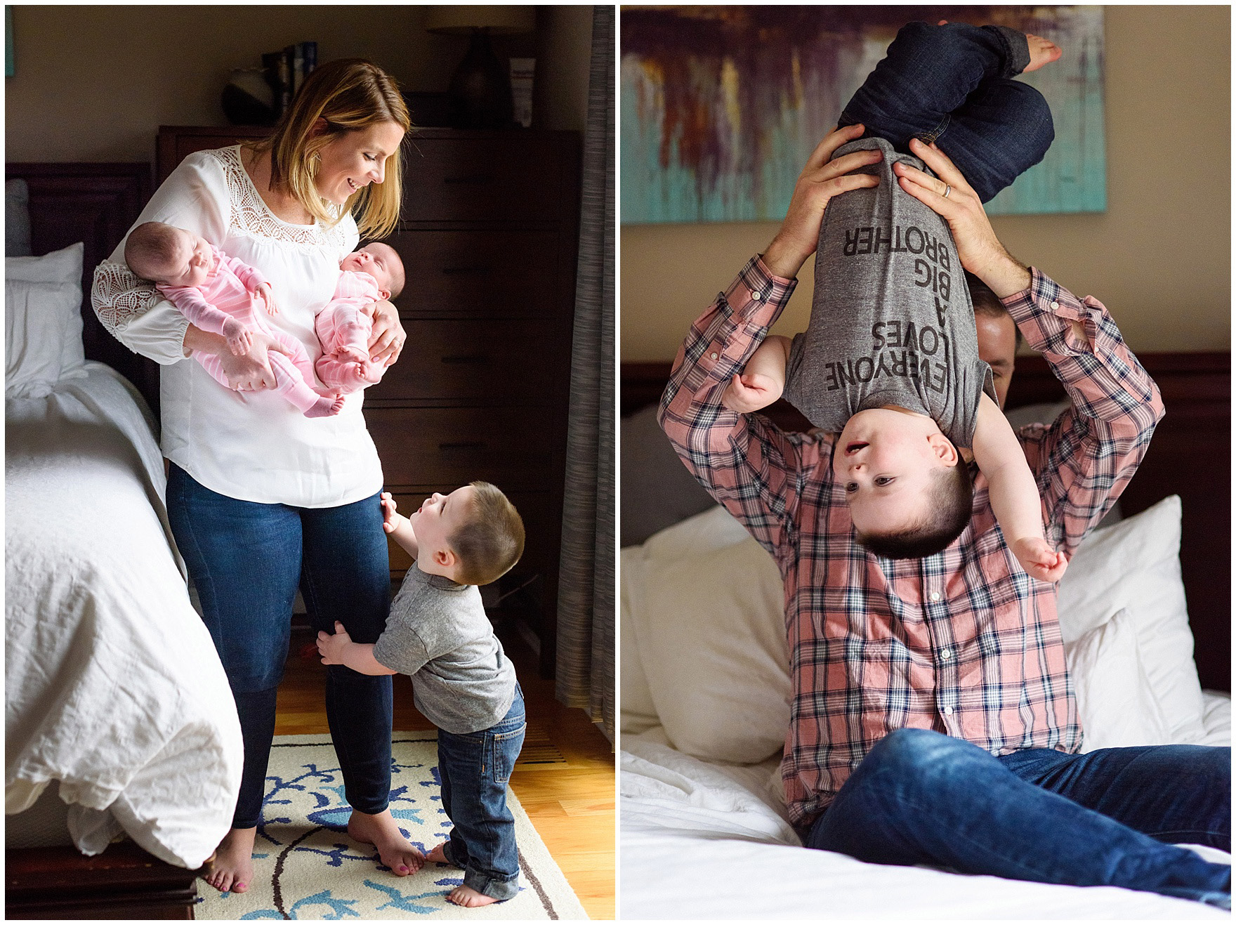Mom and dad play with toddler boy during a West Loop Chicago newborn session.