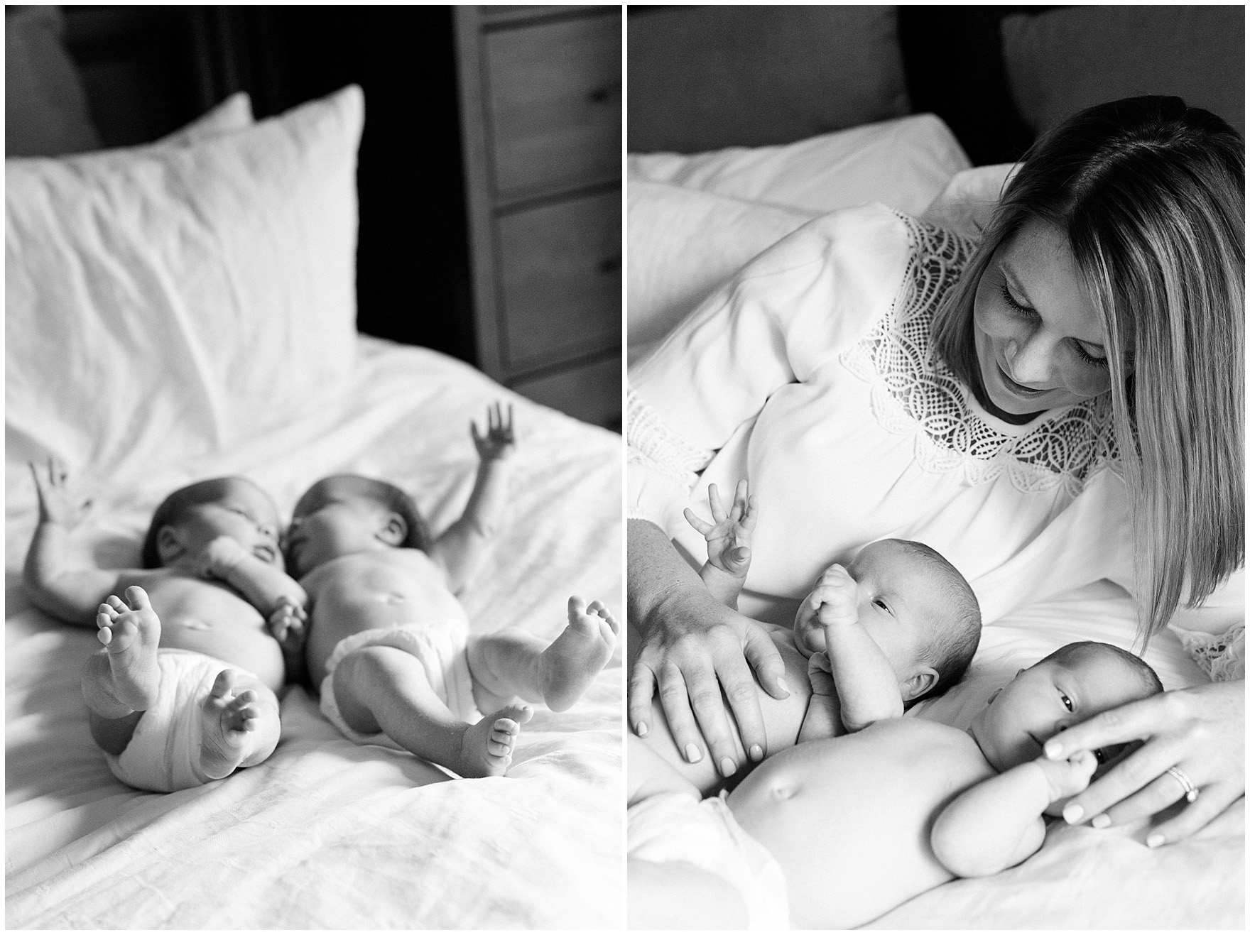 Twin baby girls cuddle with their mother during a West Loop Chicago newborn session.