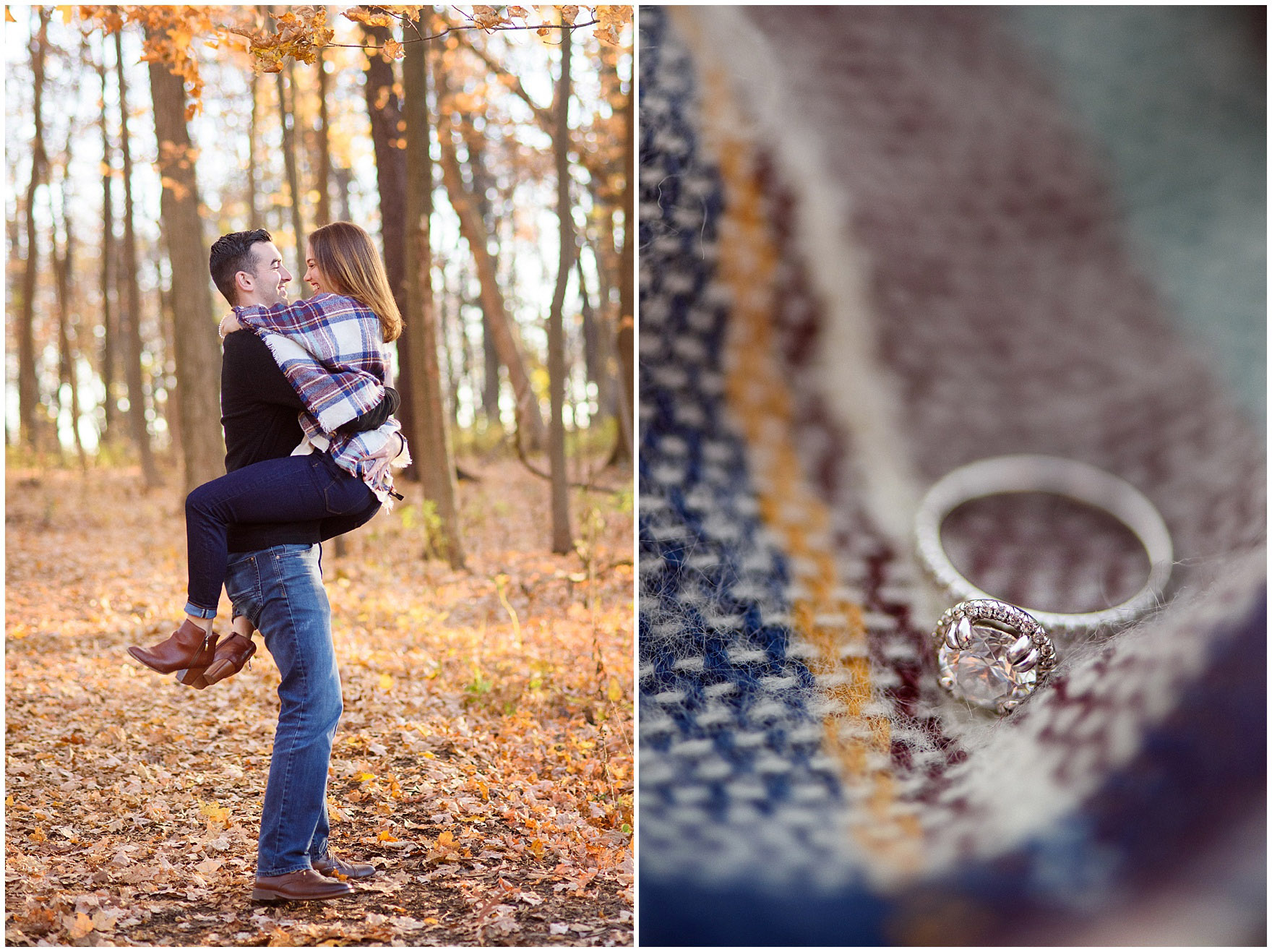A closeup of a diamond engagement ring on a plaid blanket during a fall woods engagement session.