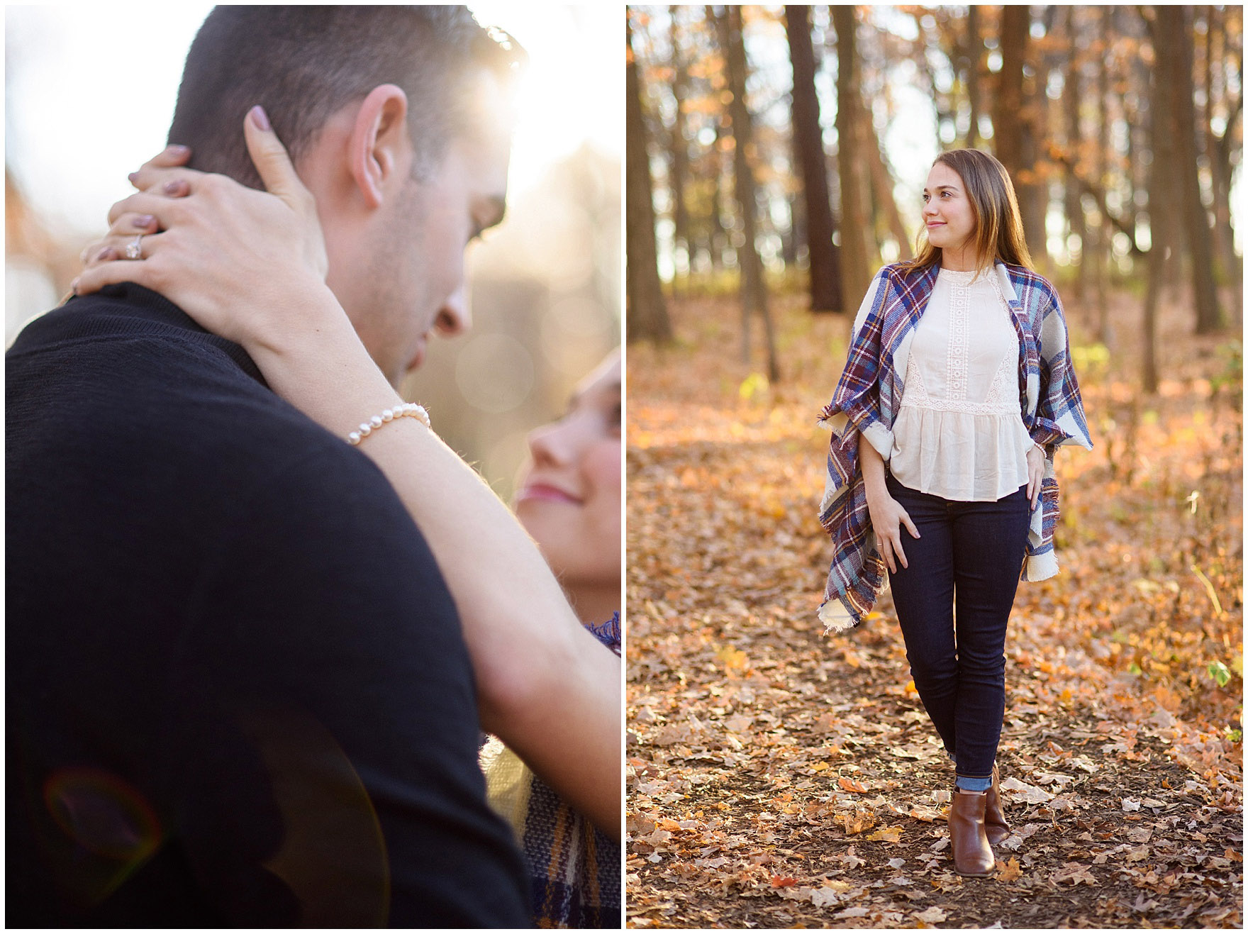 A couple embraces in the golden light during a fall woods engagement session.