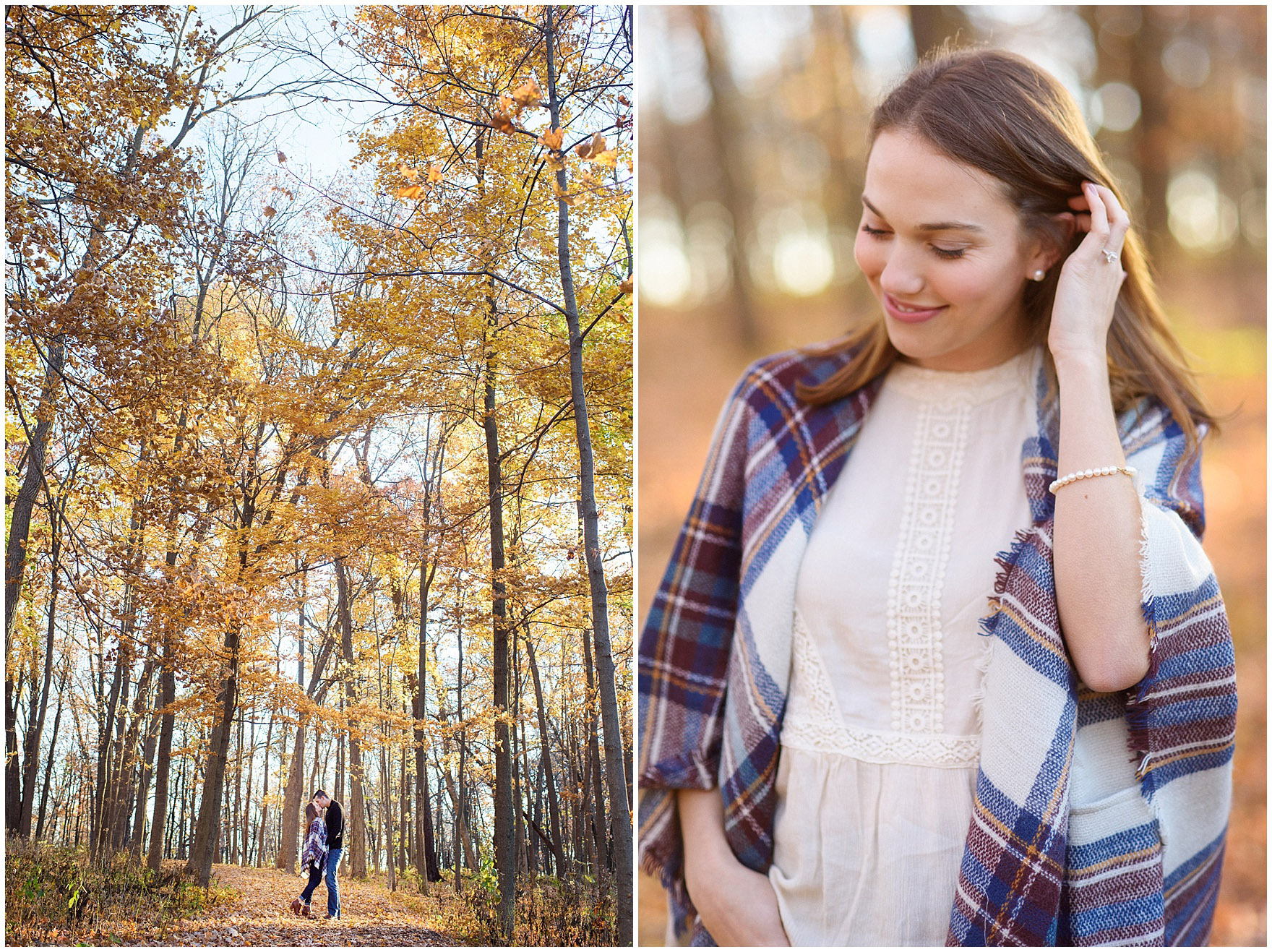 Golden sunlight on yellow leaves during a fall woods engagement session.