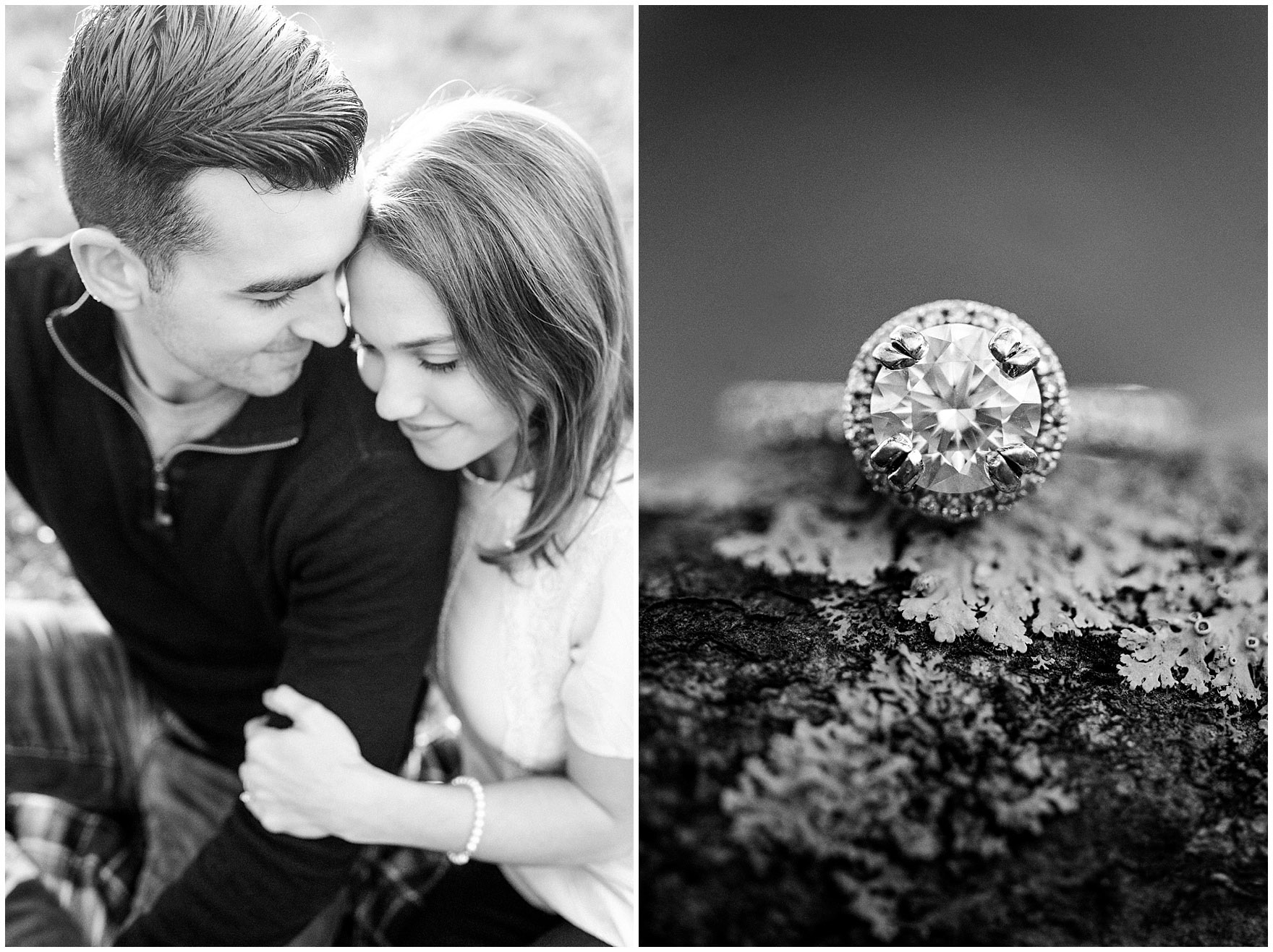 Close up of a diamond engagement ring during a fall woods engagement session.