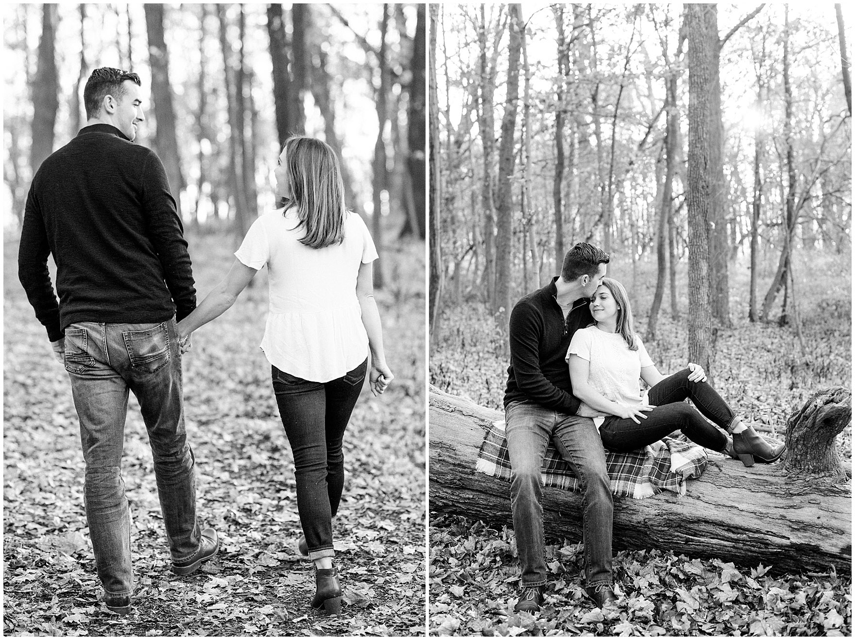 A couple sits on a fallen log during a fall woods engagement session.