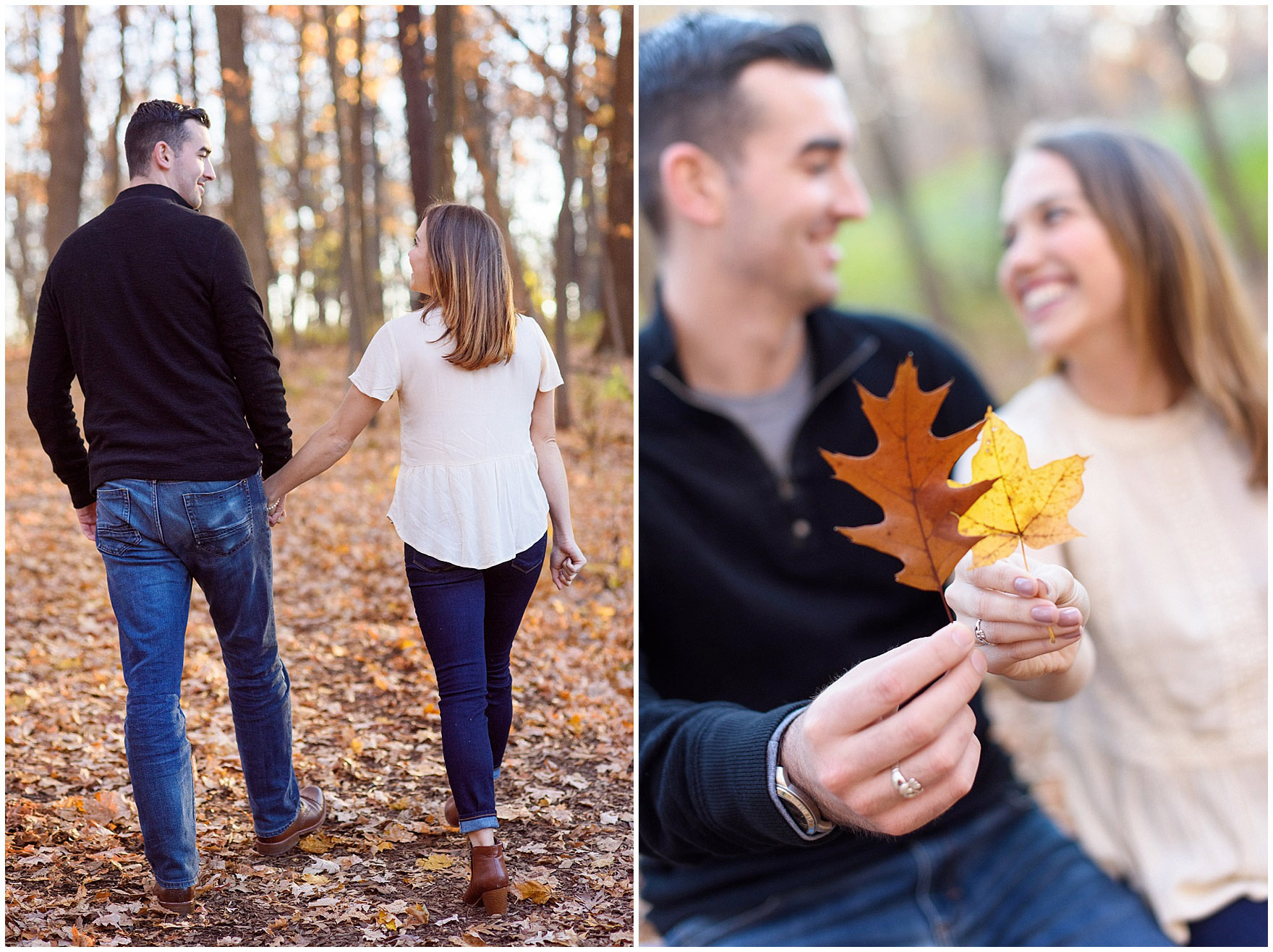 A couple laughs among the leaves during a fall woods engagement session.