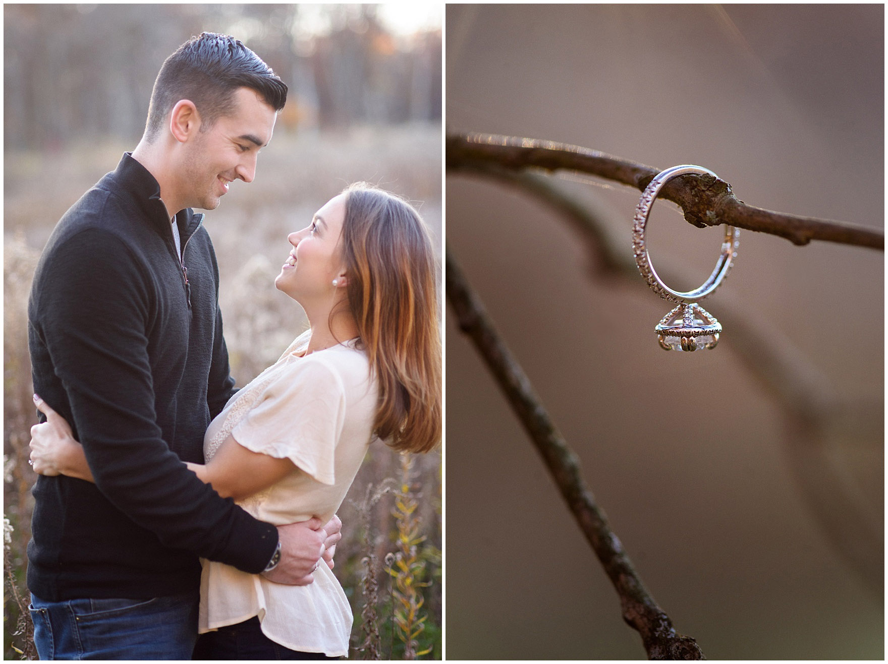 An engagement ring hangs from a branch during a fall woods engagement session.