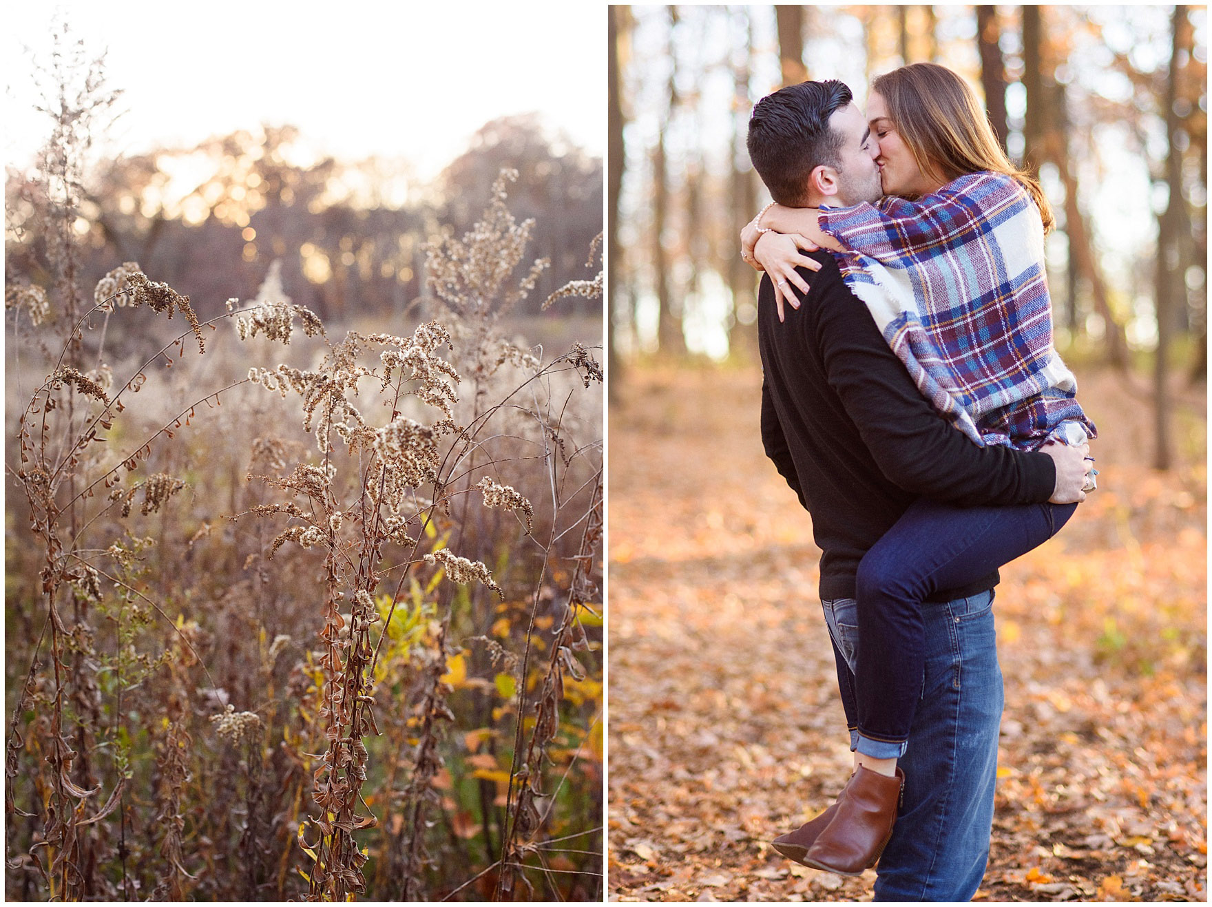 A couple kisses during a fall woods engagement session.