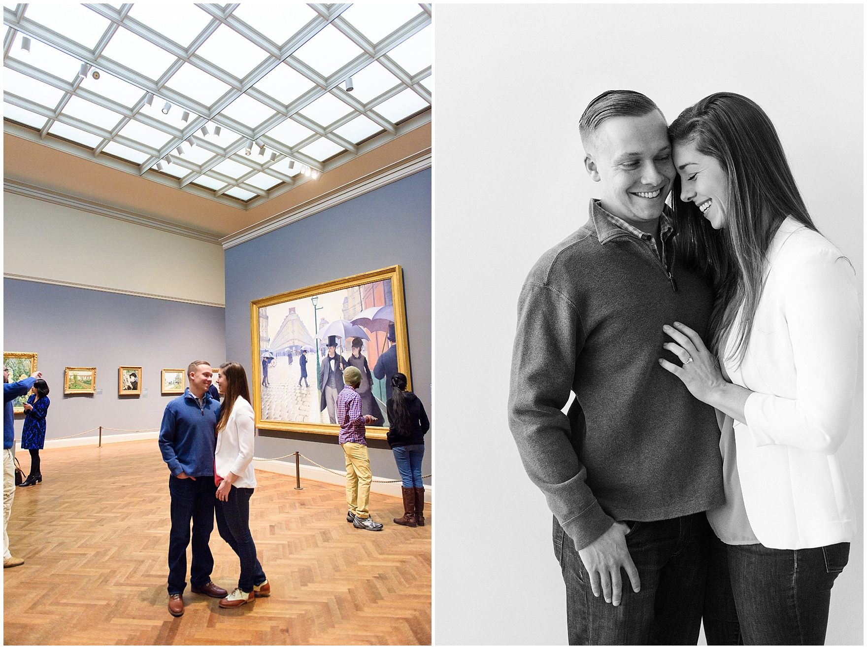 A couple embraces in the galleries during an Art Institute of Chicago engagement photography session.