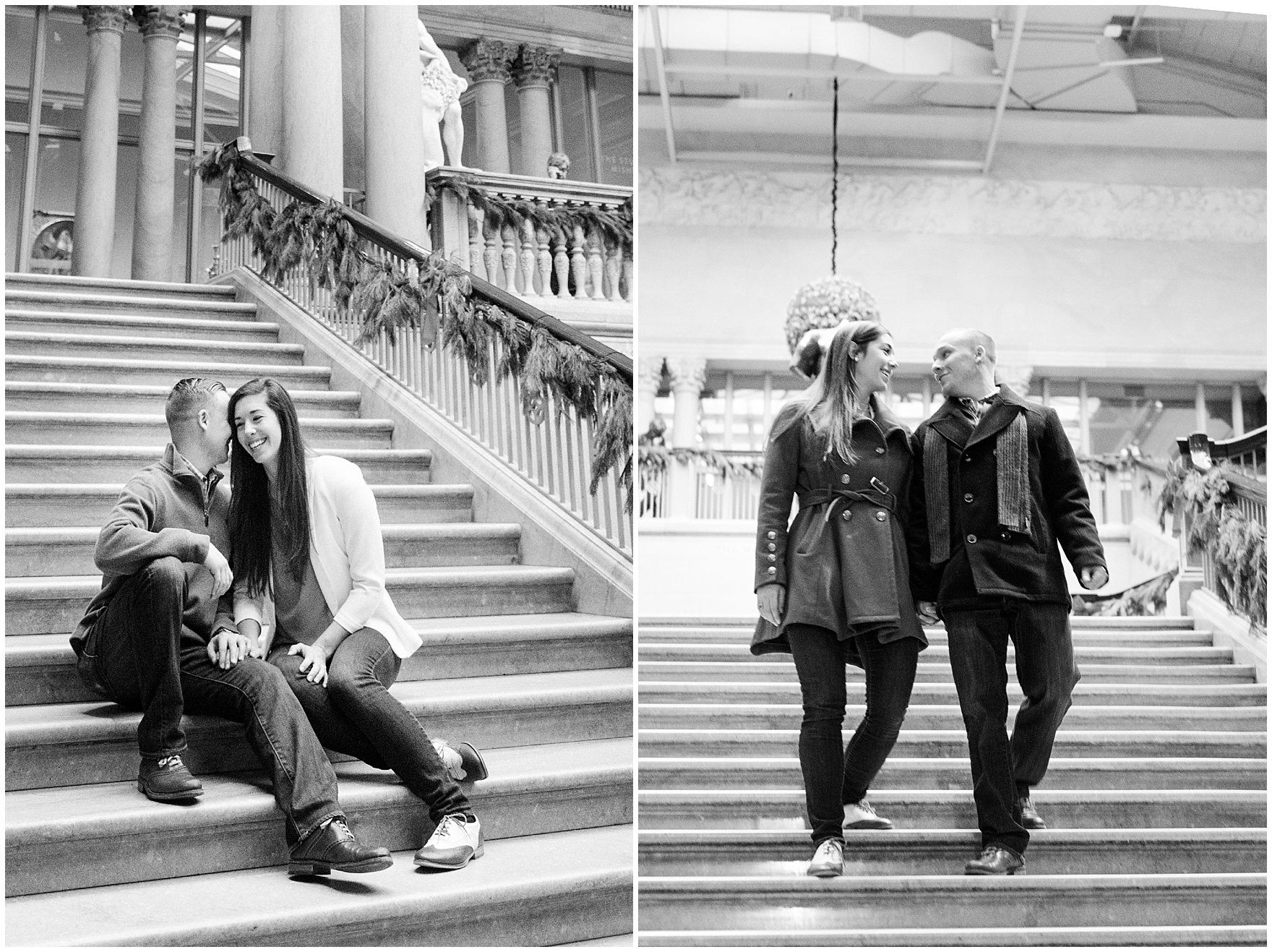 A couple sits on the grand staircase during an Art Institute of Chicago engagement photography session.