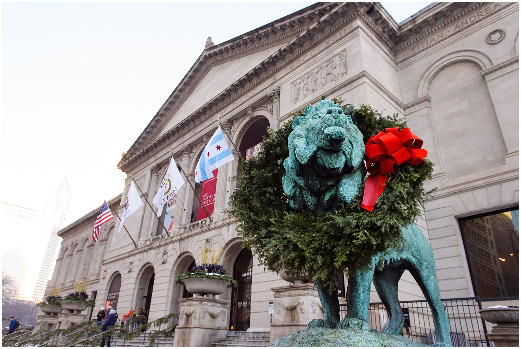 The iconic lions are decorated with wreaths for the holidays, as photographed during an Art Institute of Chicago engagement photography session.