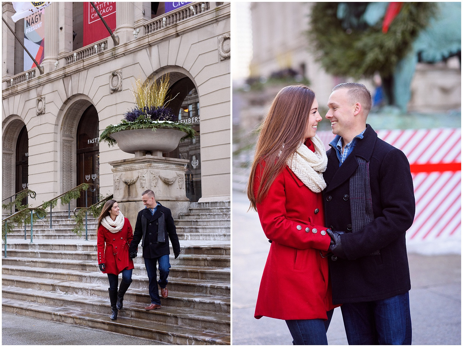 A couple walks in front of the museum, decorated for the holidays, during an Art Institute of Chicago engagement photography session.