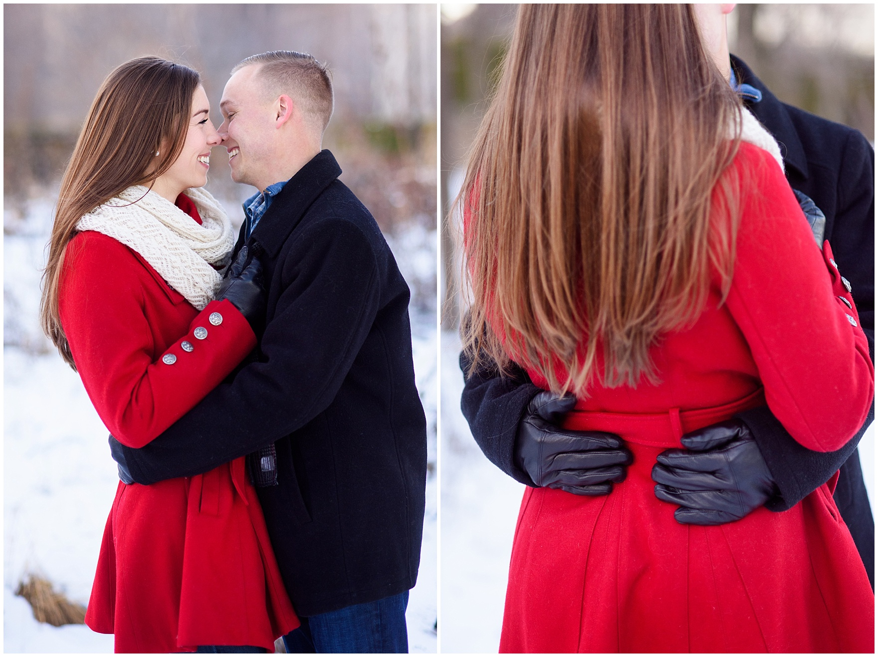 A couple embraces in the snow-covered Lurie Gardens during a holiday-season Art Institute of Chicago engagement photography session.