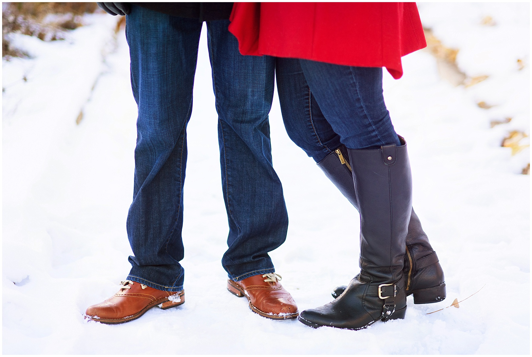 Close up of a couple in boots in the snow-covered Lurie Gardens during an Art Institute of Chicago engagement photography session.