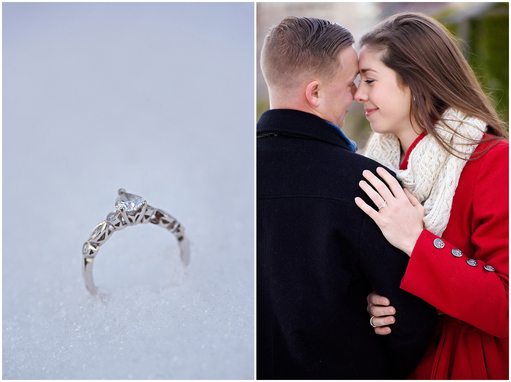 A close up photograph of an engagement ring in the show, taken during an Art Institute of Chicago engagement photography session.