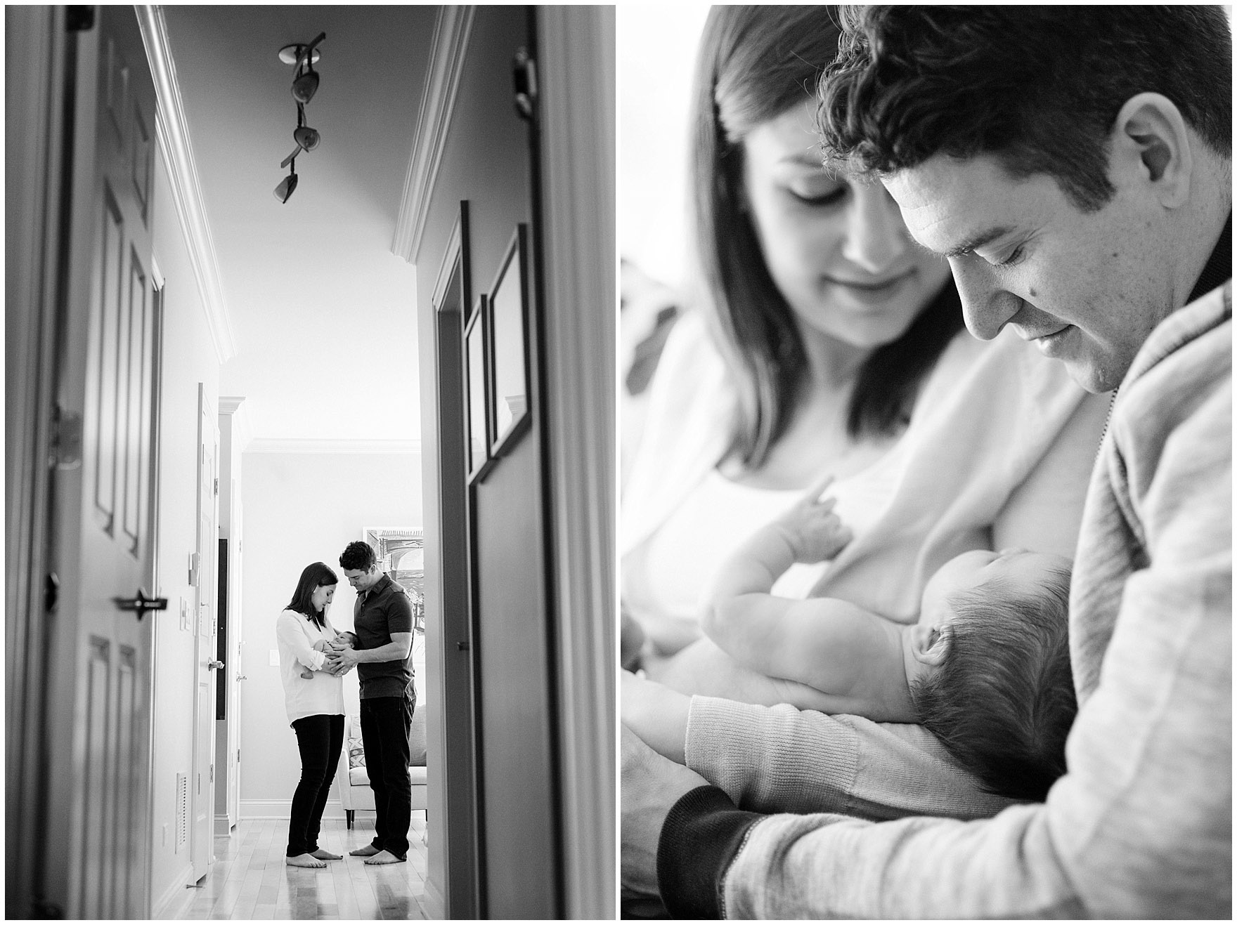 Black and white portraits of a mother and father holding their baby boy during a Chicago newborn baby photography session.