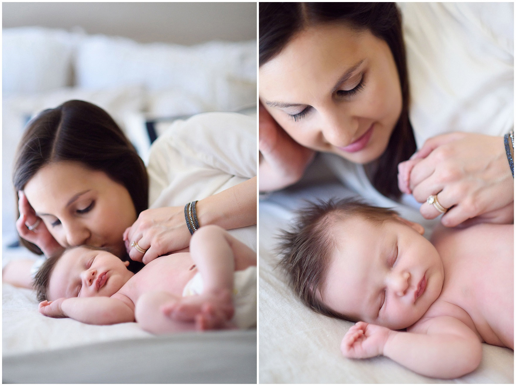 Portraits of a new mother gazing at her sleeping baby during a Chicago newborn baby photography session.