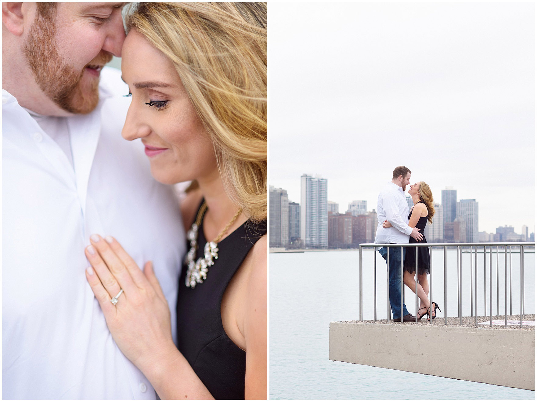 A bride and groom-to-be pose at Milton Olive Park during a downtown Chicago city engagement photography session.