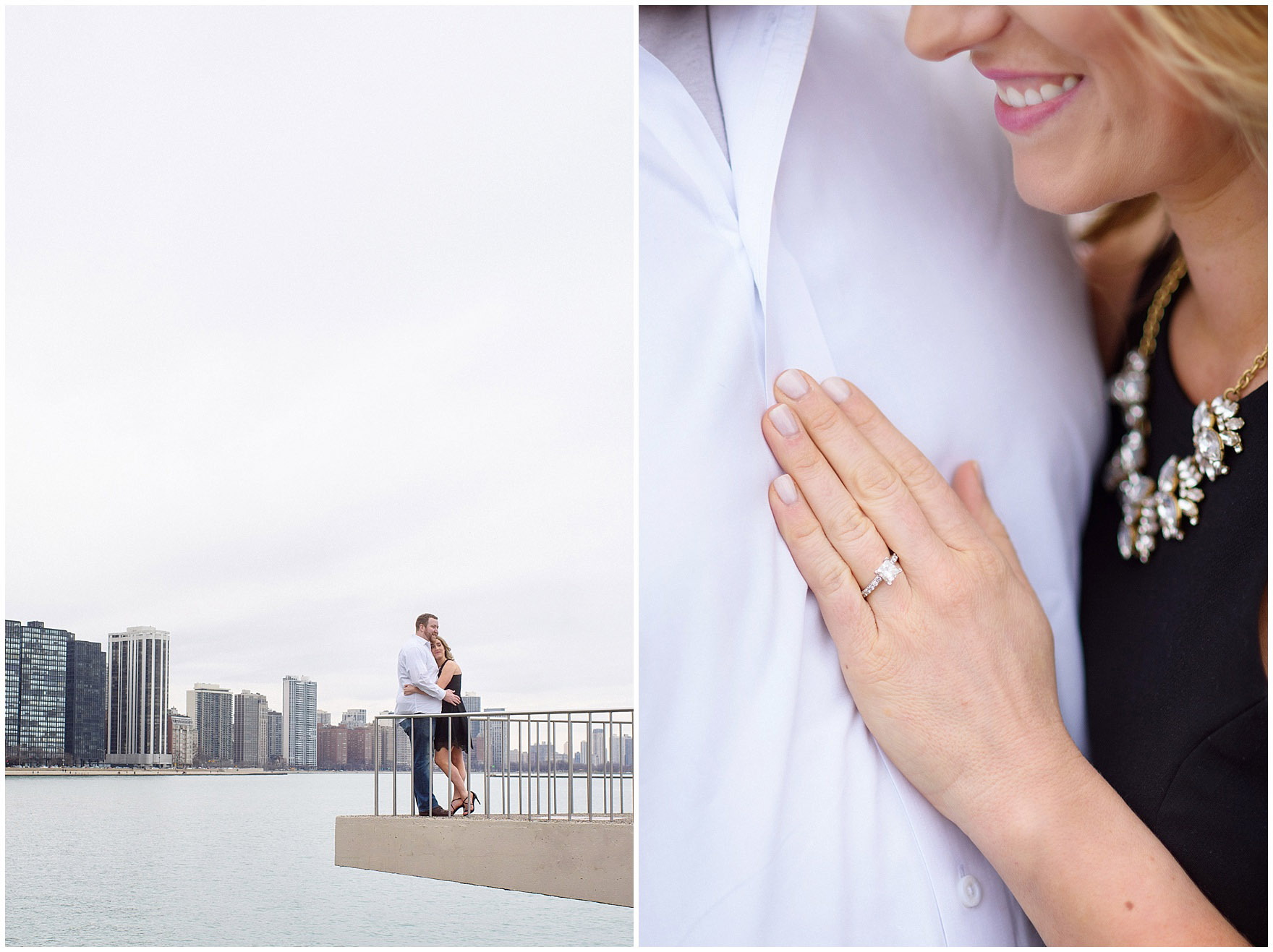 A bride-to-be shows her engagement ring at Milton Olive Park during a downtown Chicago city engagement photography session.