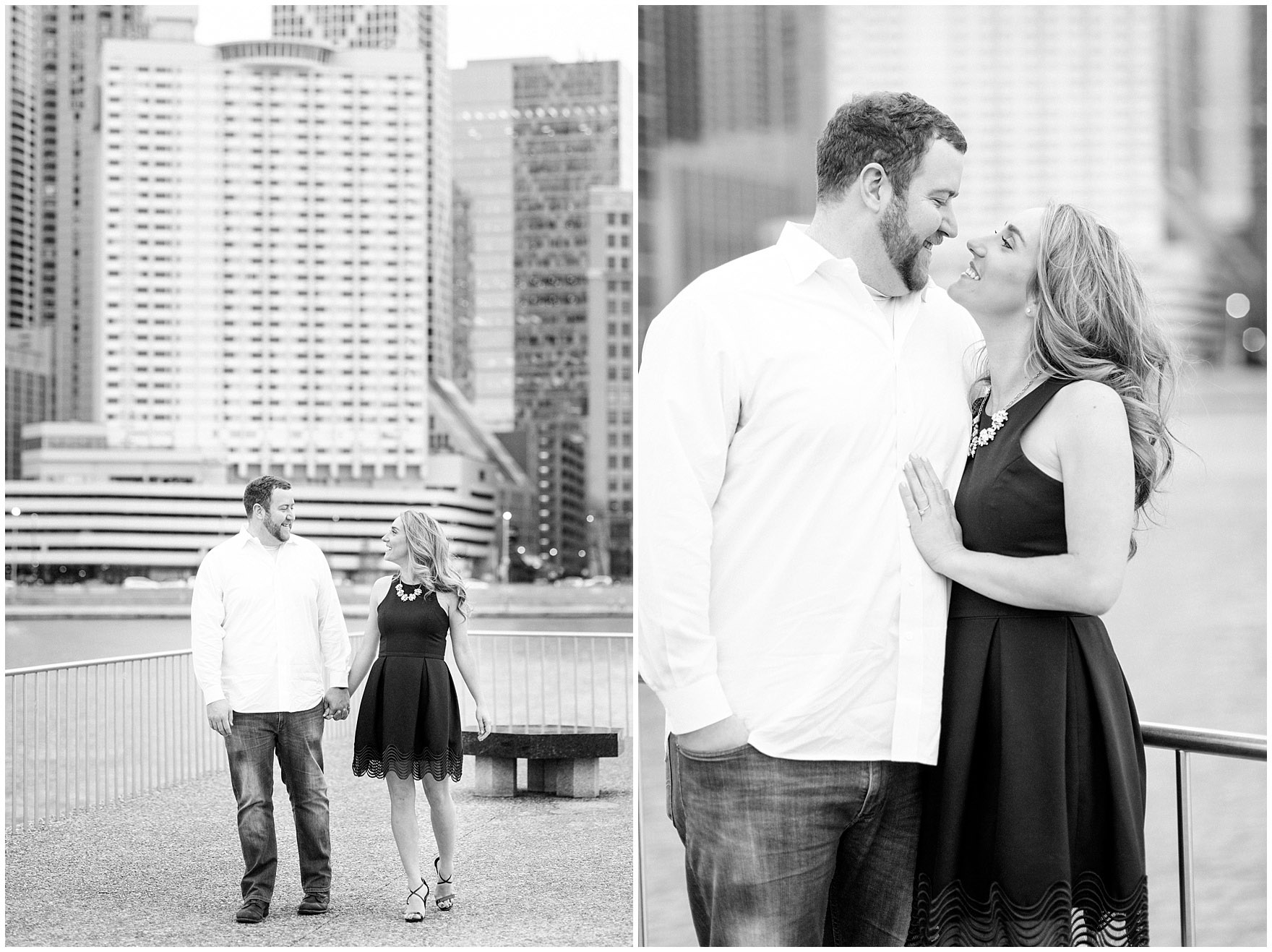A couple walks along the promenade at Milton Olive Park during a downtown Chicago city engagement photography session.
