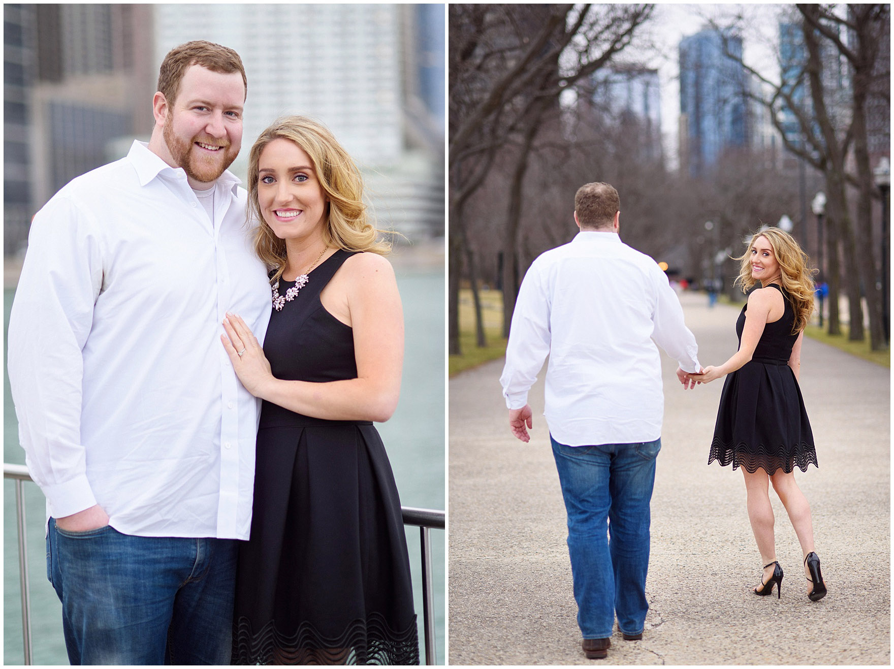 A couple walks in Milton Olive Park during a downtown Chicago city engagement photography session.