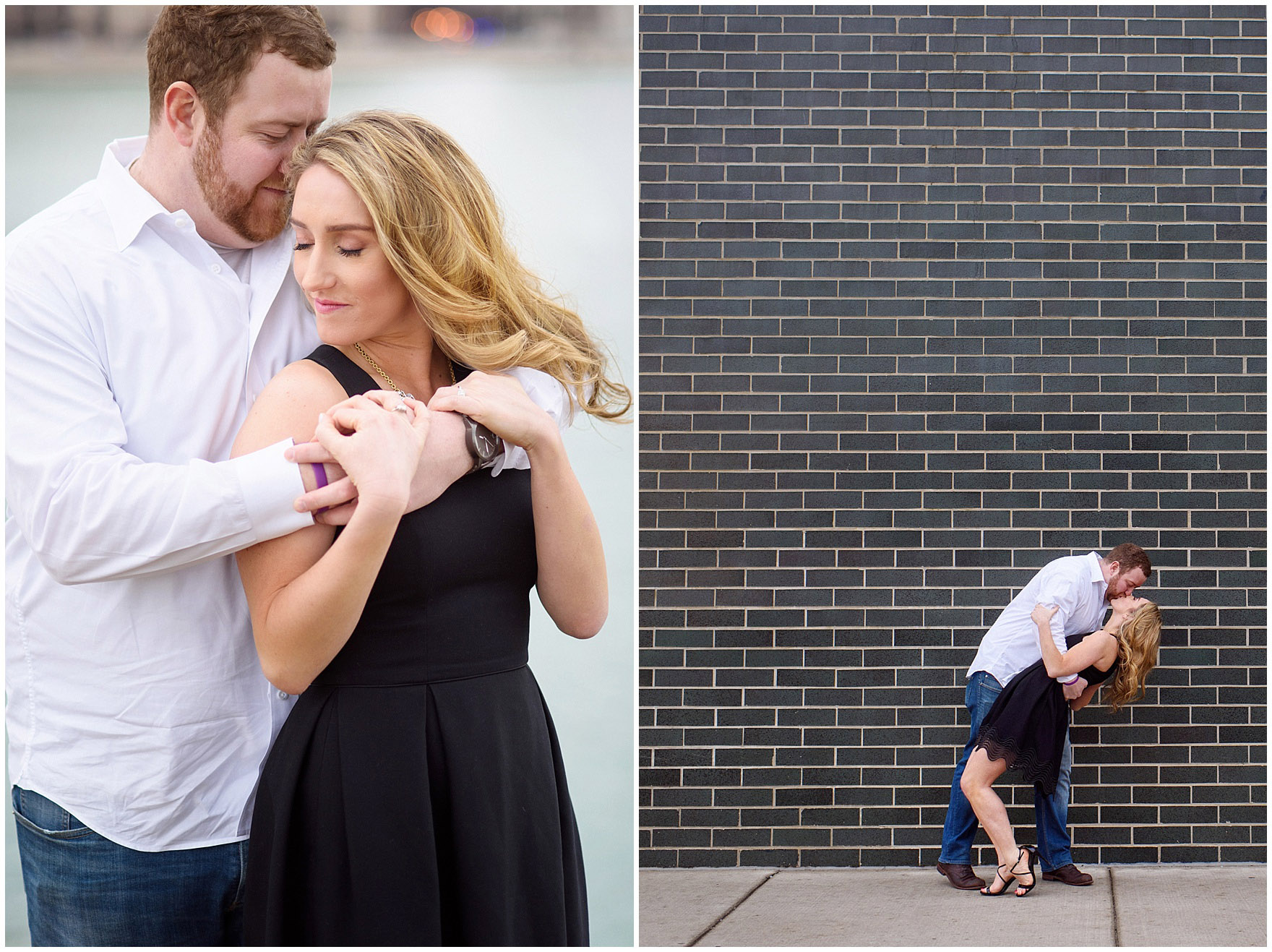A bride and groom-to-be embrace during a downtown Chicago city engagement photography session.