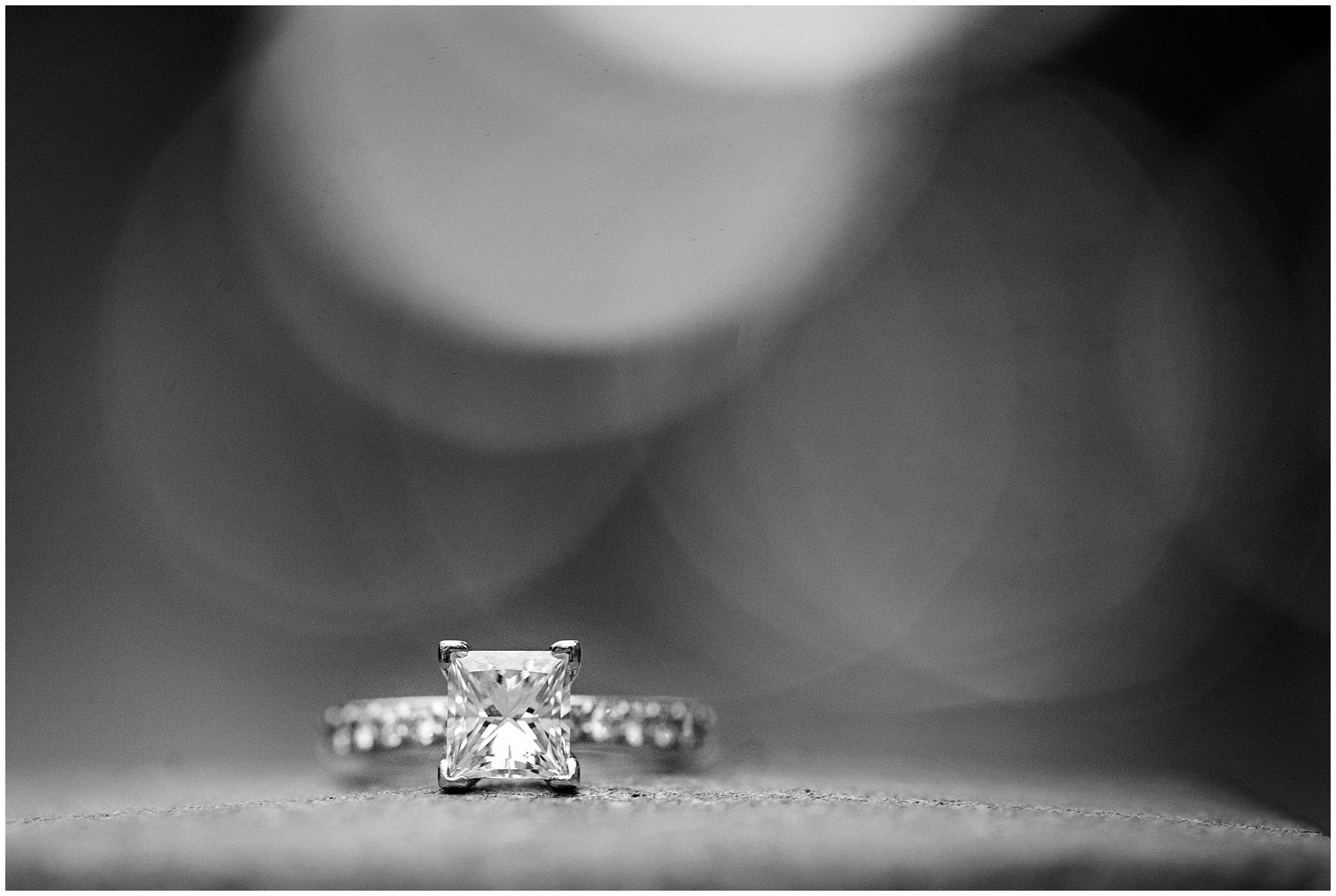 Close up of an engagement ring taken during a downtown Chicago city engagement photography session.