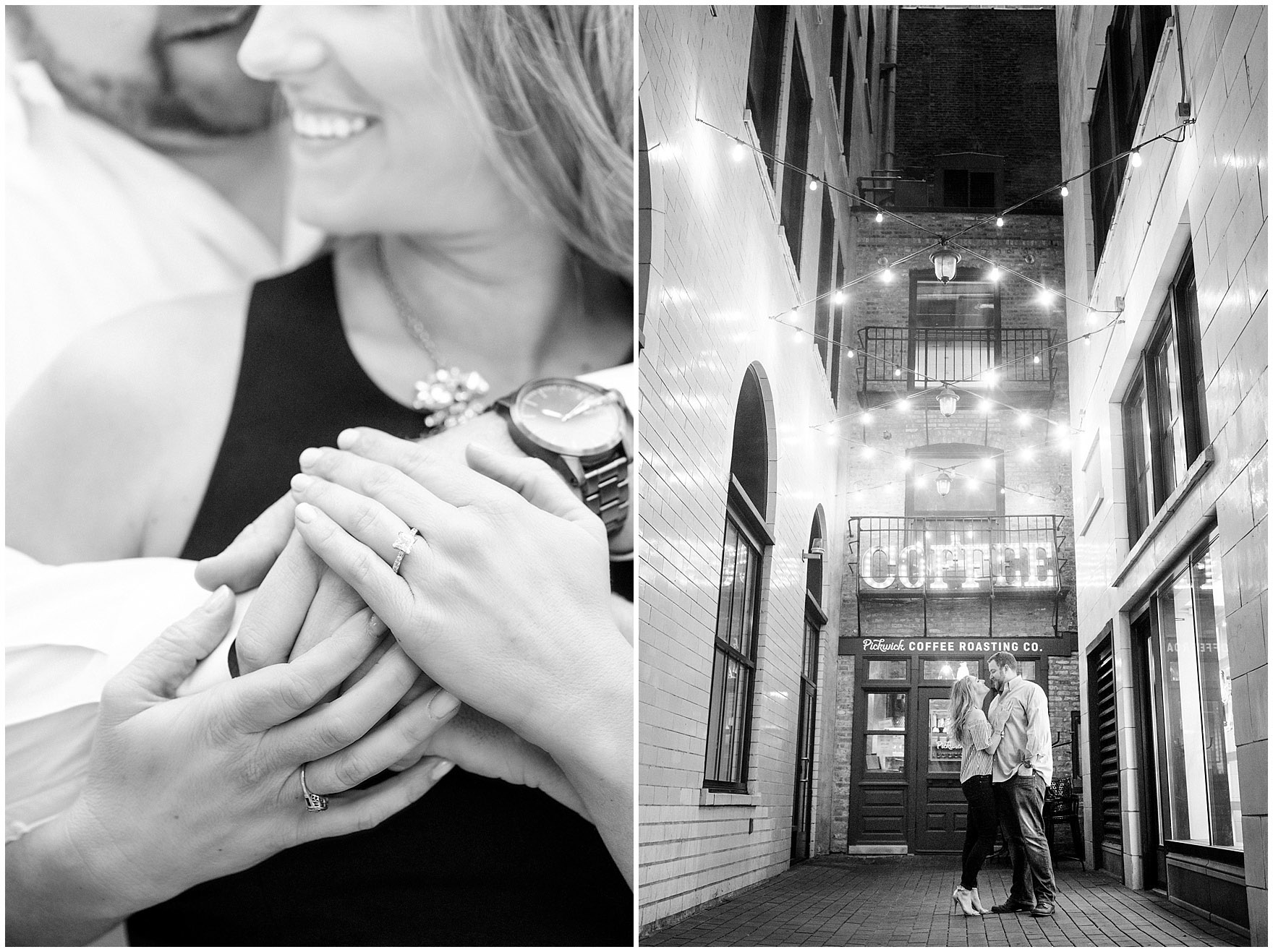 A couple embraces in front of the quaint Asado Pickwick coffeeshop during a downtown Chicago city engagement photography session.