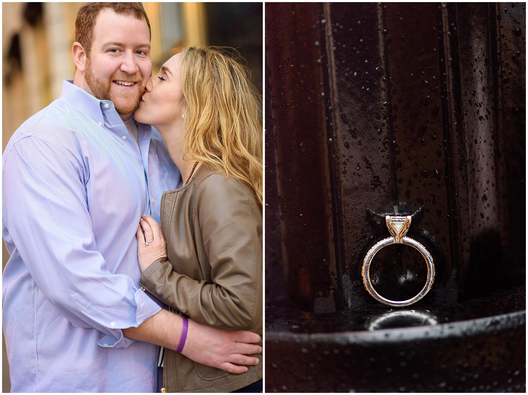 A couple embraces during a downtown Chicago city engagement photography session.