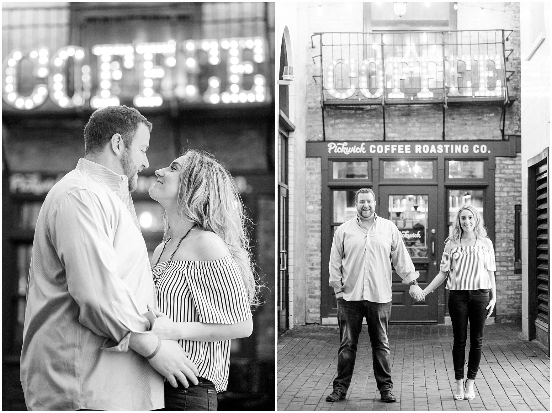 A couple embraces in front of the cute alley at Asado Pickwick coffeeshop during a downtown Chicago city engagement photography session.