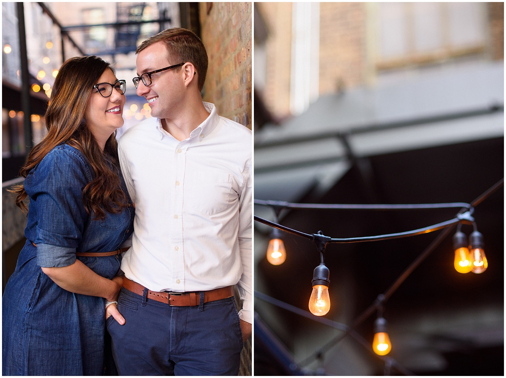 A couple poses in an alley with sparkly string lights during a West Loop Chicago photography session.