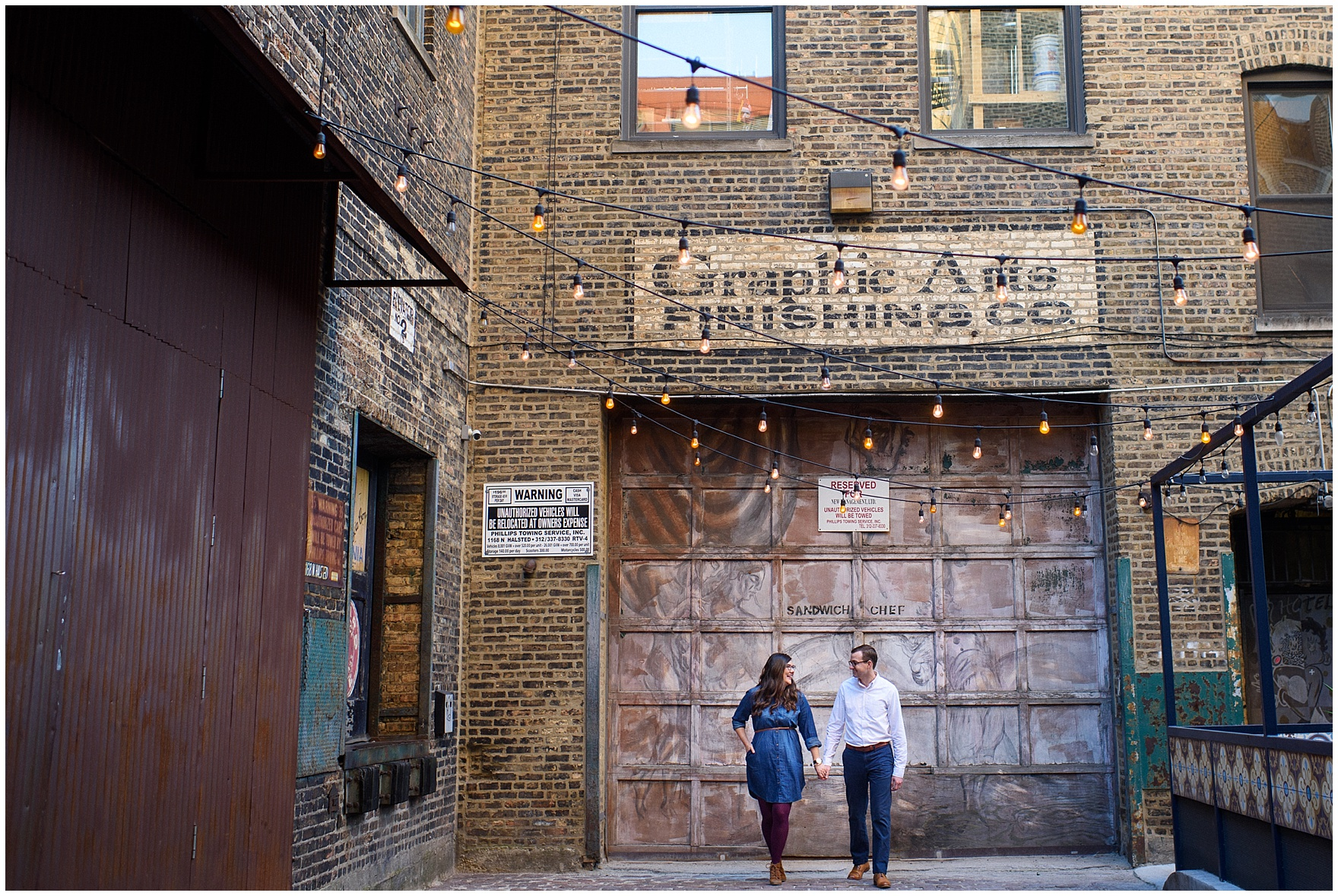 A couple poses in a fun urban alley during a West Loop Chicago photography session.