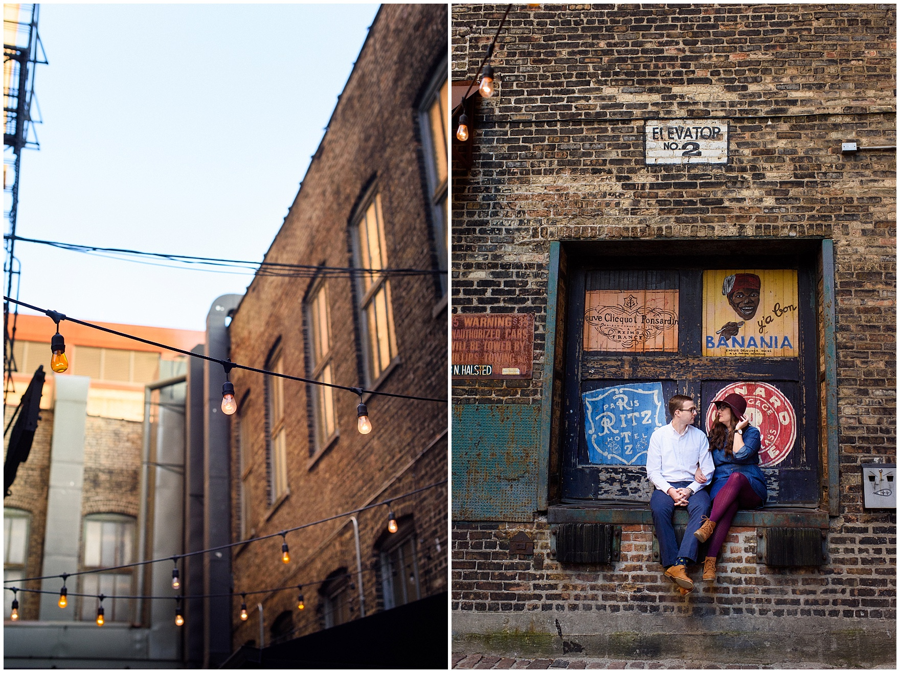 A couple sits amidst some painted alleyway signs during a West Loop Chicago photography session.