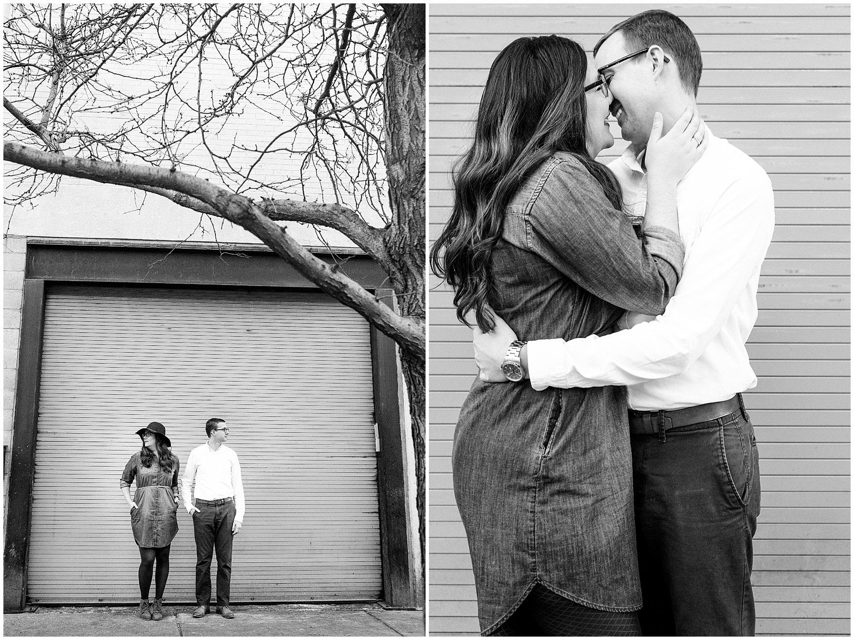 Black and white portraits of a couple during a West Loop Chicago photography session.