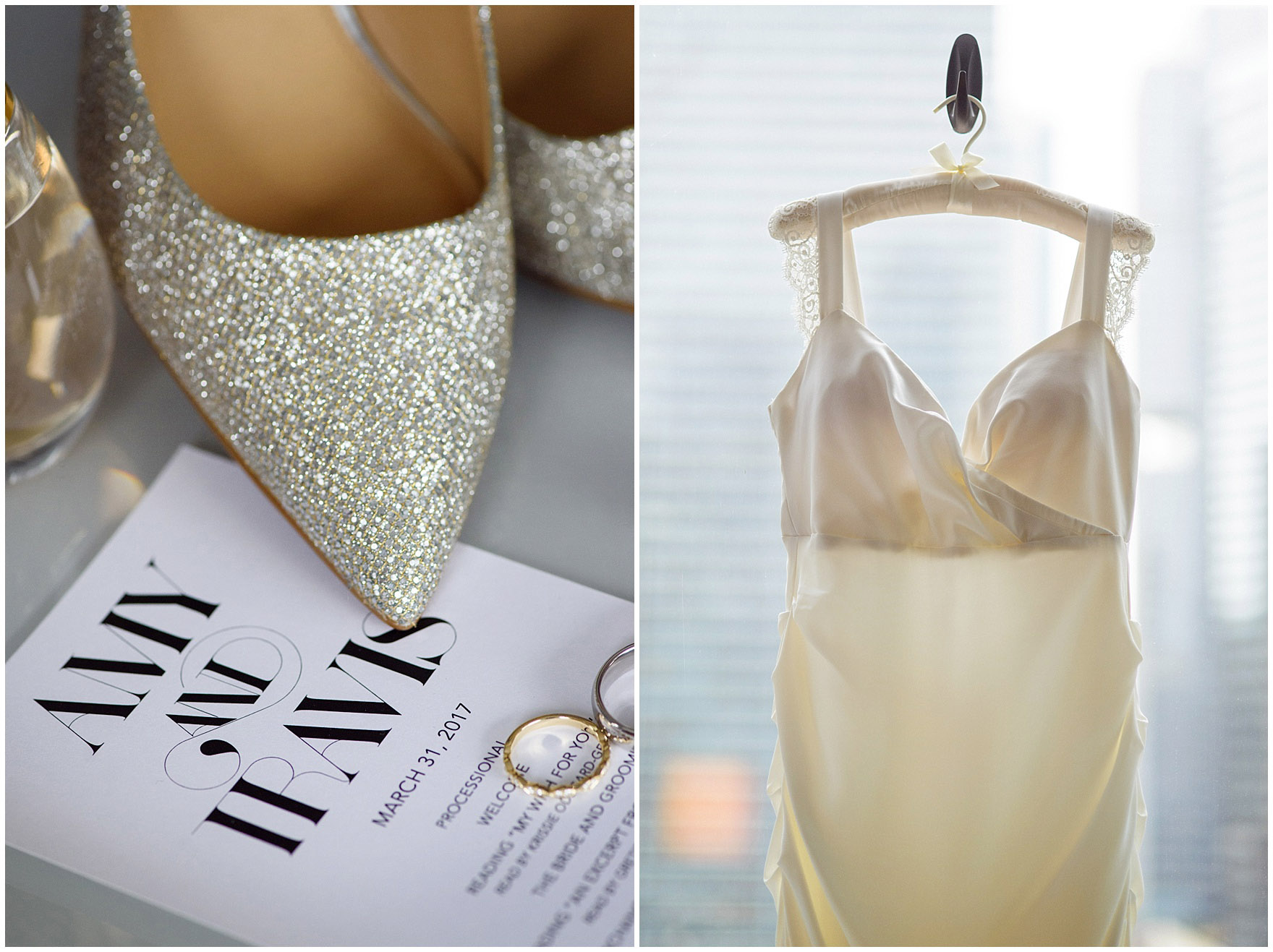 Details of an invitation, shoes, rings and wedding dress for an Ovation Chicago wedding.