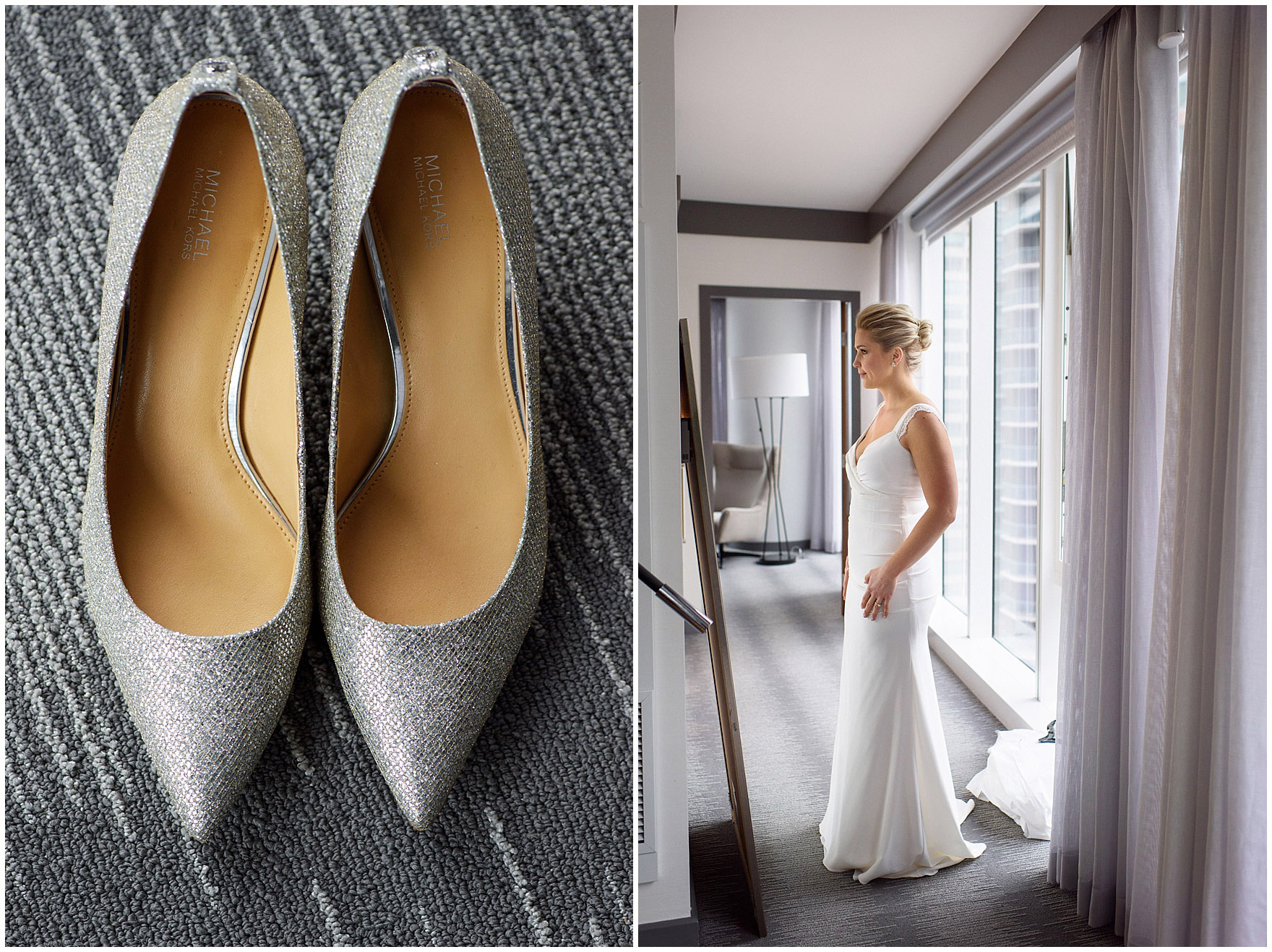 Details of a bride's silver Michael Coors wedding shoes for her Ovation Chicago wedding.
