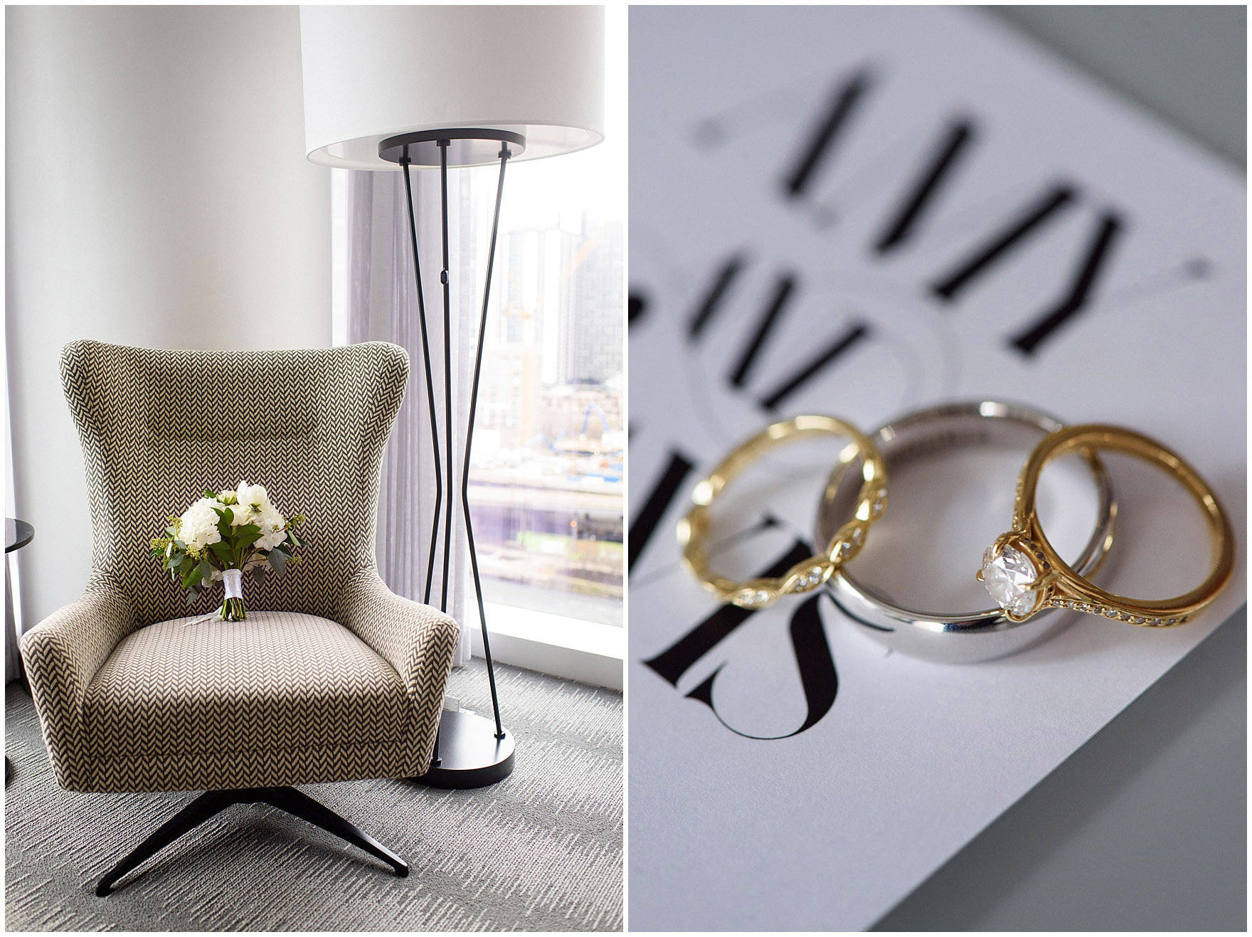 Bridal details in the getting ready suite at the Loews Chicago Downtown hotel prior to an Ovation Chicago wedding.