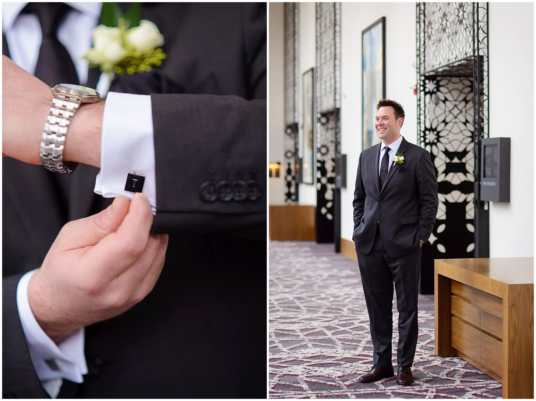 A groom poses at the Loews Chicago Downtown hotel prior to his Ovation Chicago wedding.