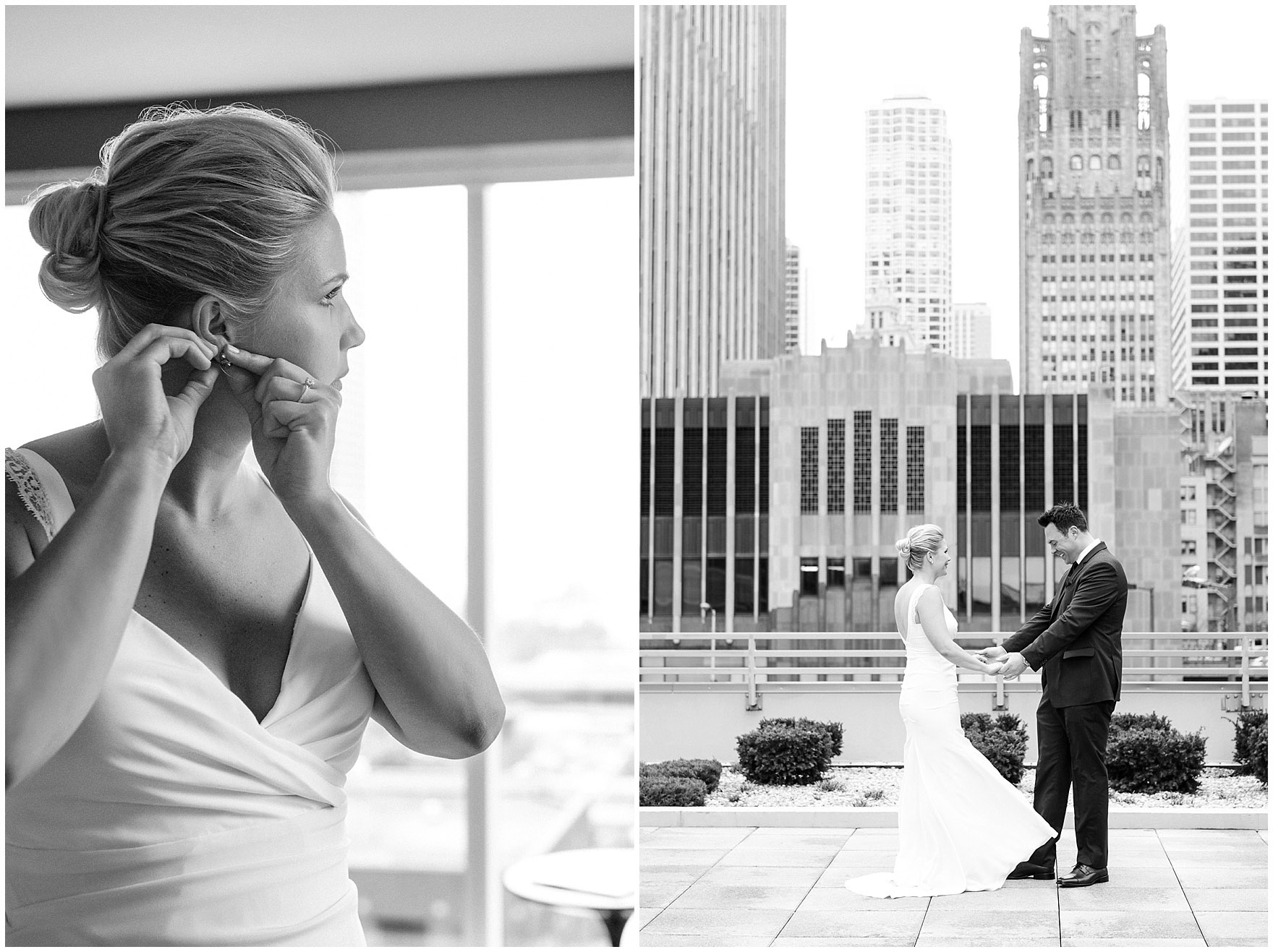 A bride and groom share their first look on the terrace of the Loews Chicago Downtown hotel prior to their Ovation Chicago wedding.