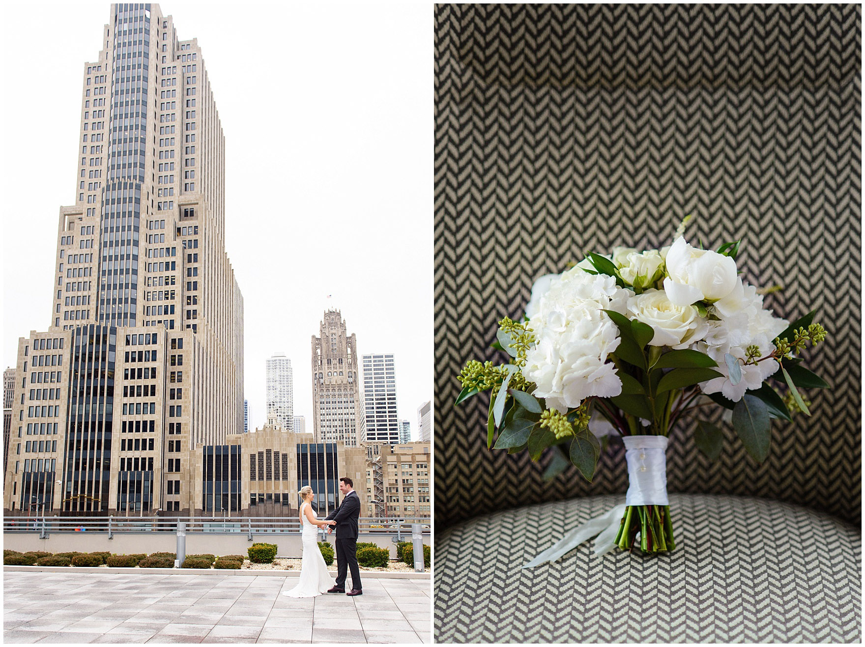 A bride and groom get ready at the Loews Chicago Downtown hotel prior to their Ovation Chicago wedding, with a detail of a bouquet by Field & Florist.